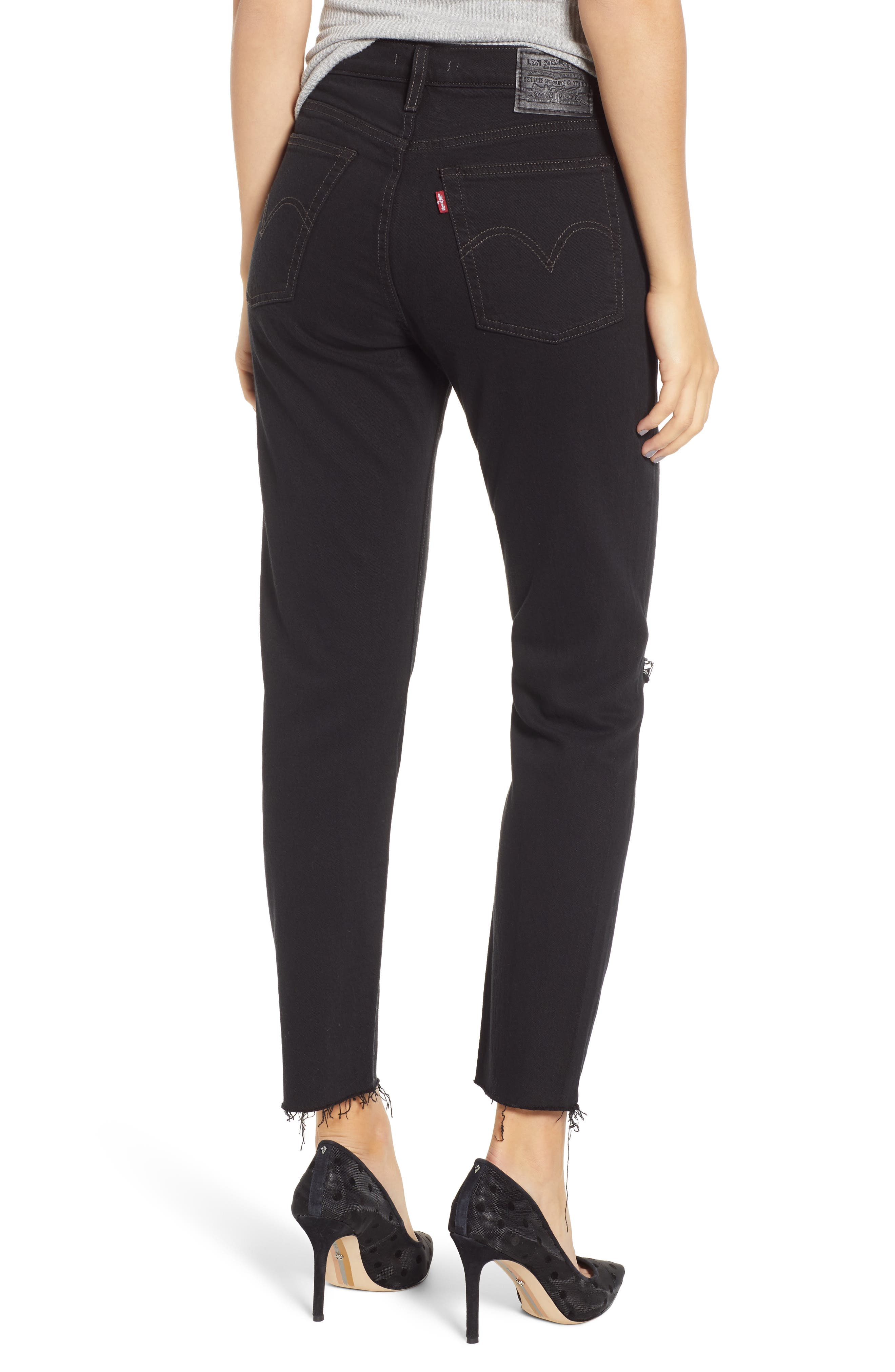 LEVI'S<SUP>®</SUP>, Wedgie Icon Fit High Waist Ripped Skinny Jeans, Alternate thumbnail 2, color, BLACK DESERT