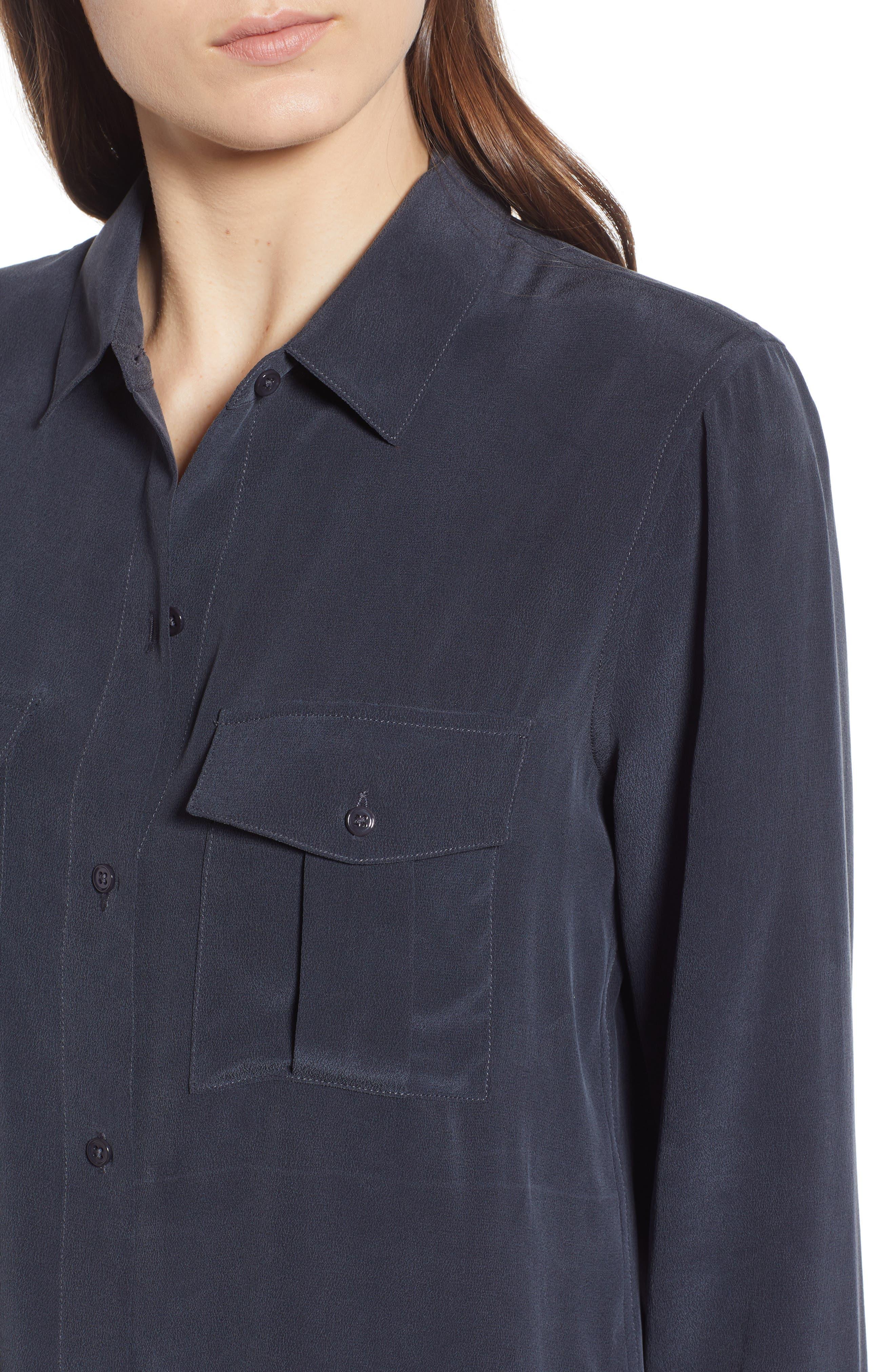 RAILS, Rhett Silk Shirt, Alternate thumbnail 4, color, 021