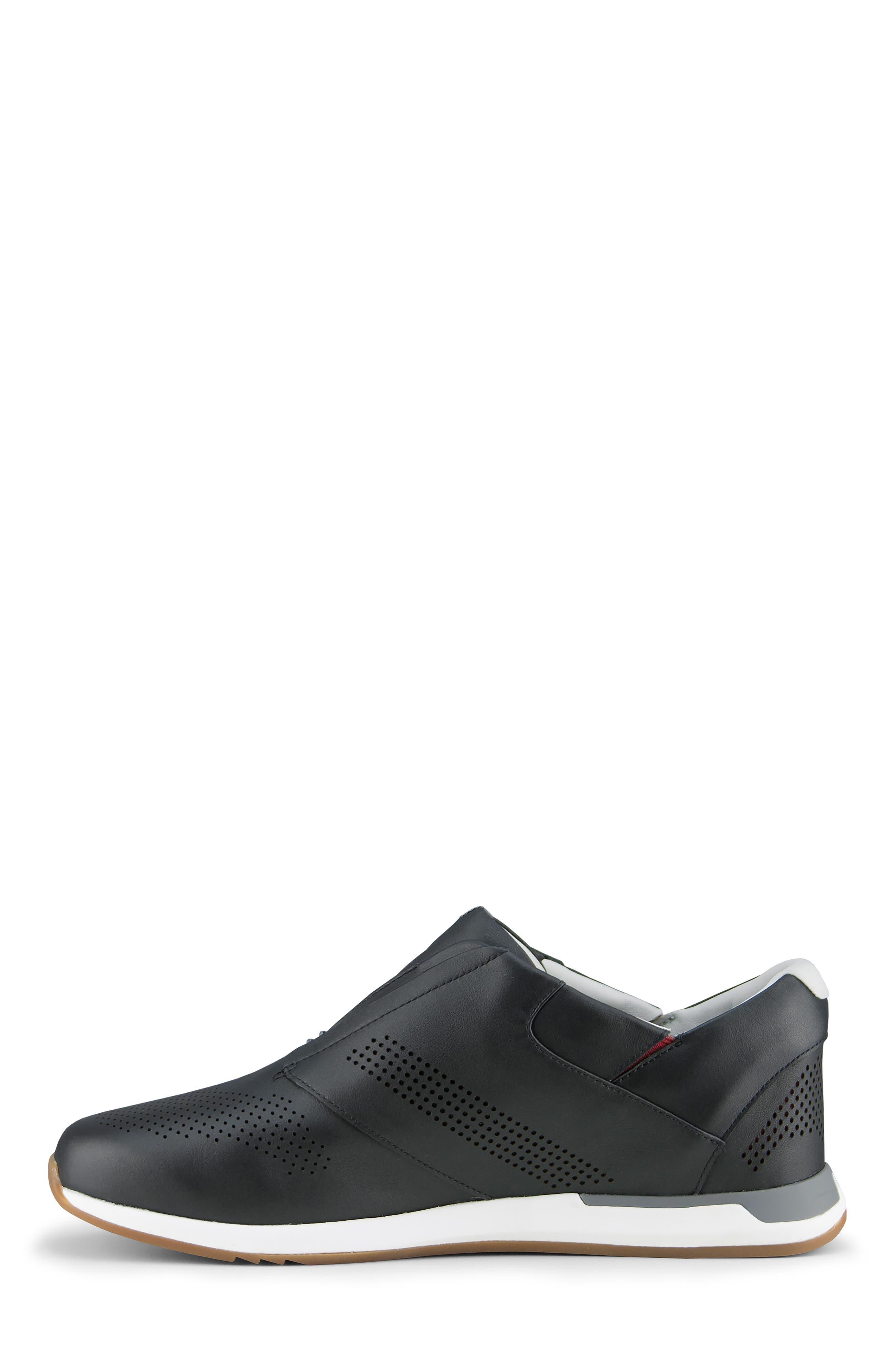 KIZIK, Dubai Slip-On Sneaker, Alternate thumbnail 7, color, BLACK LEATHER