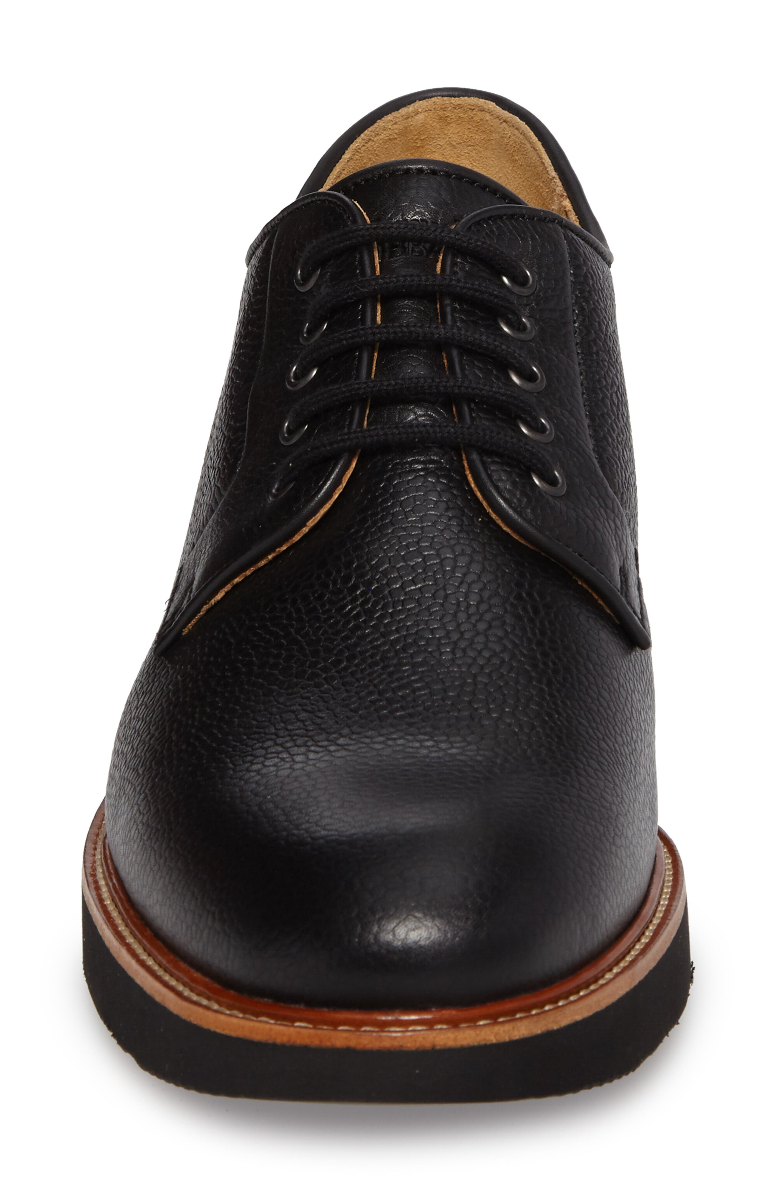 SAMUEL HUBBARD, Highlander Plain Toe Derby, Alternate thumbnail 4, color, BLACK PEBBLE GRAIN