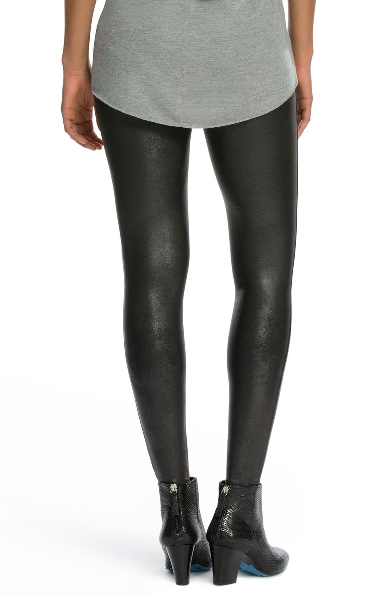 SPANX<SUP>®</SUP>, Faux Leather Leggings, Alternate thumbnail 2, color, BLACK