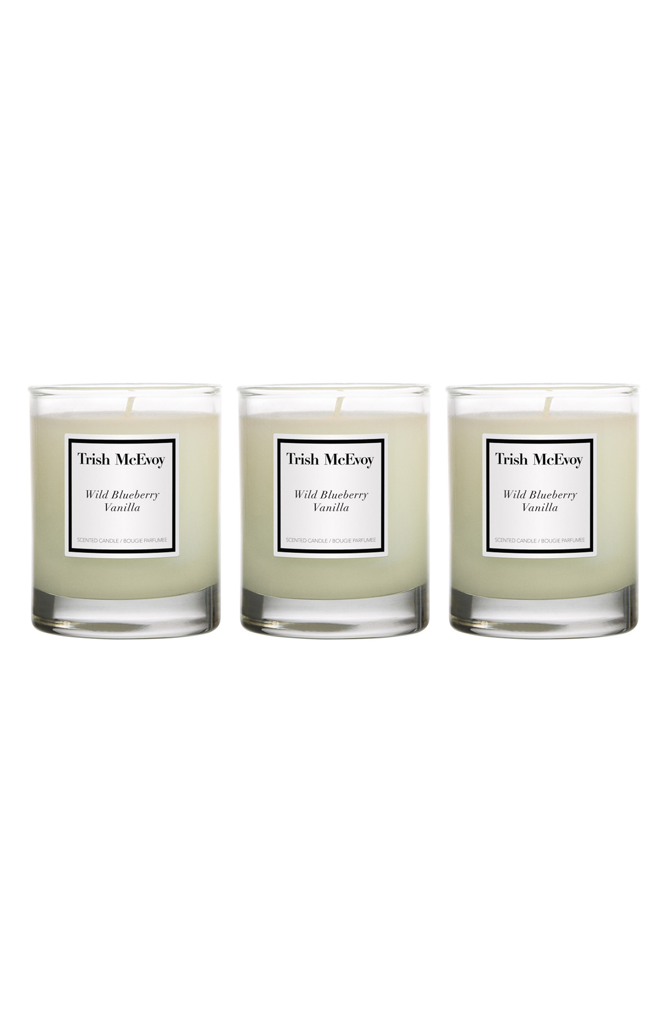 TRISH MCEVOY Wild Blueberry Vanilla Votive Candle Trio, Main, color, NO COLOR