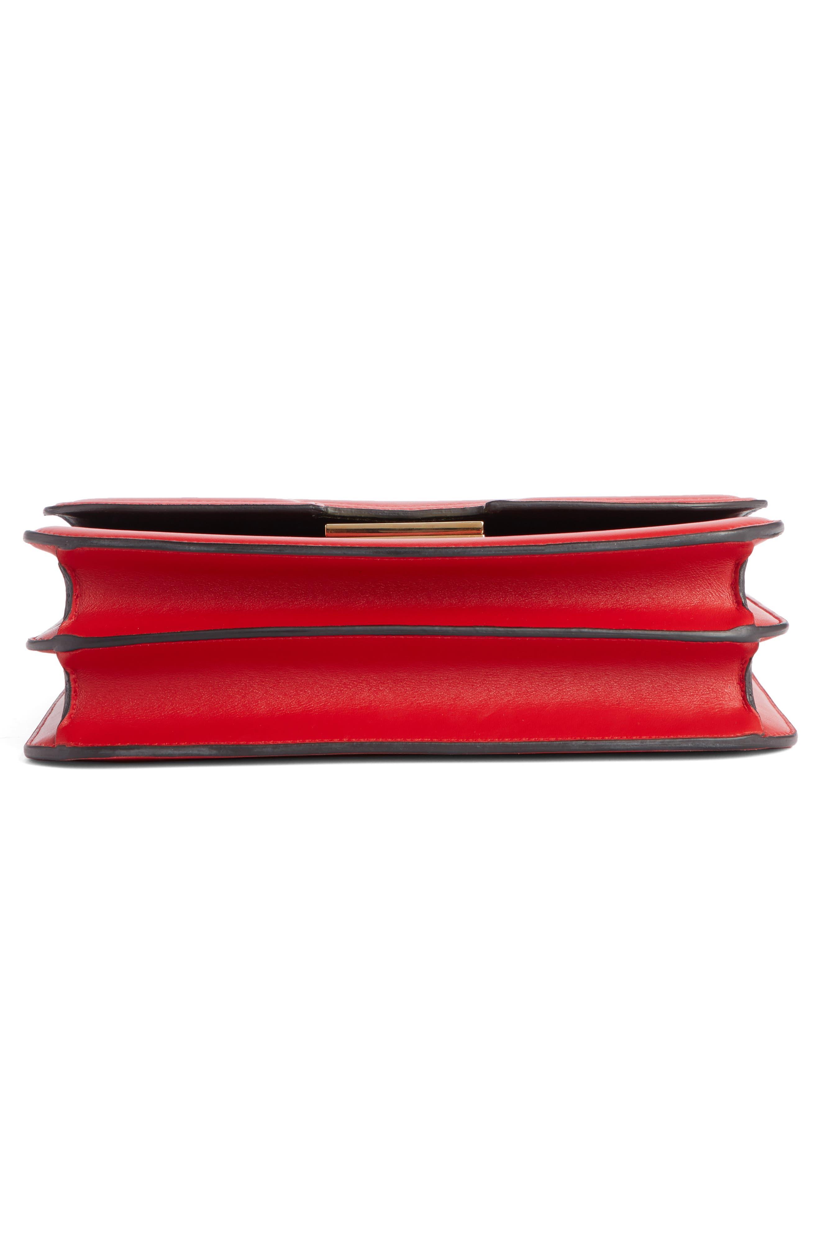 VICTORIA BECKHAM, Eva Leather Shoulder Bag, Alternate thumbnail 5, color, RED