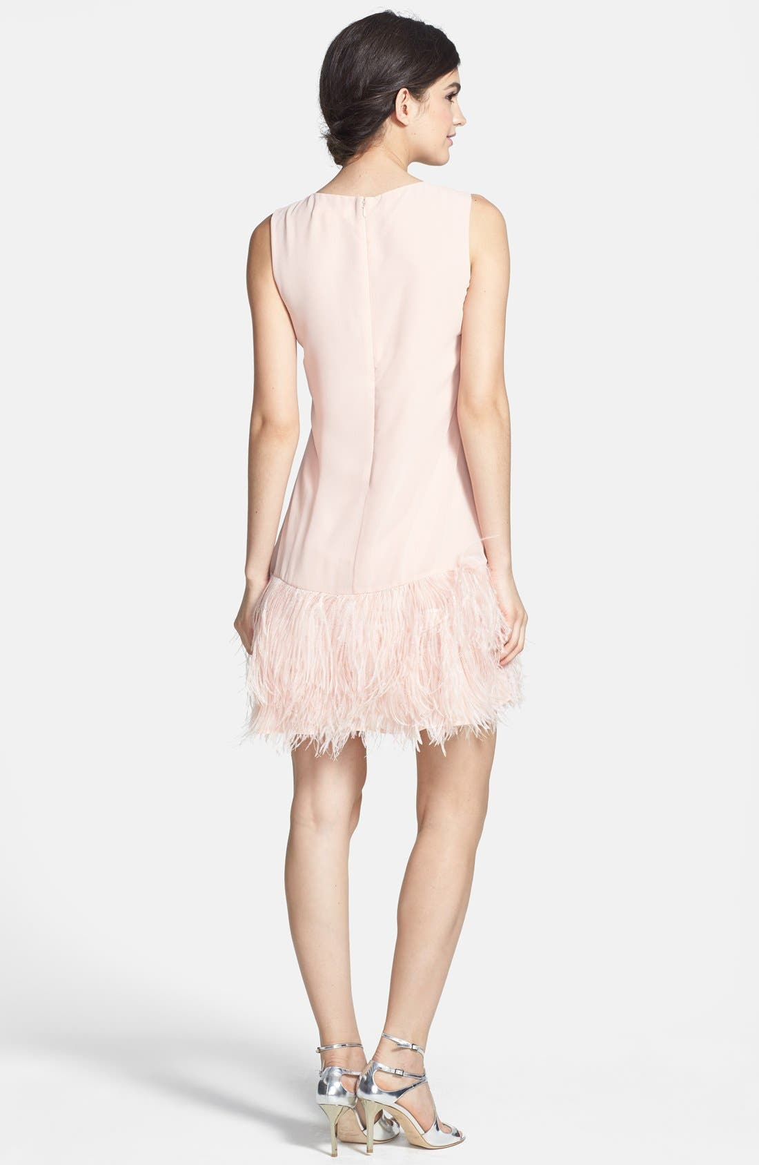 ERIN ERIN FETHERSTON, 'Phoebe' Ostrich Feather Hem Chiffon Shift Dress, Alternate thumbnail 3, color, 668