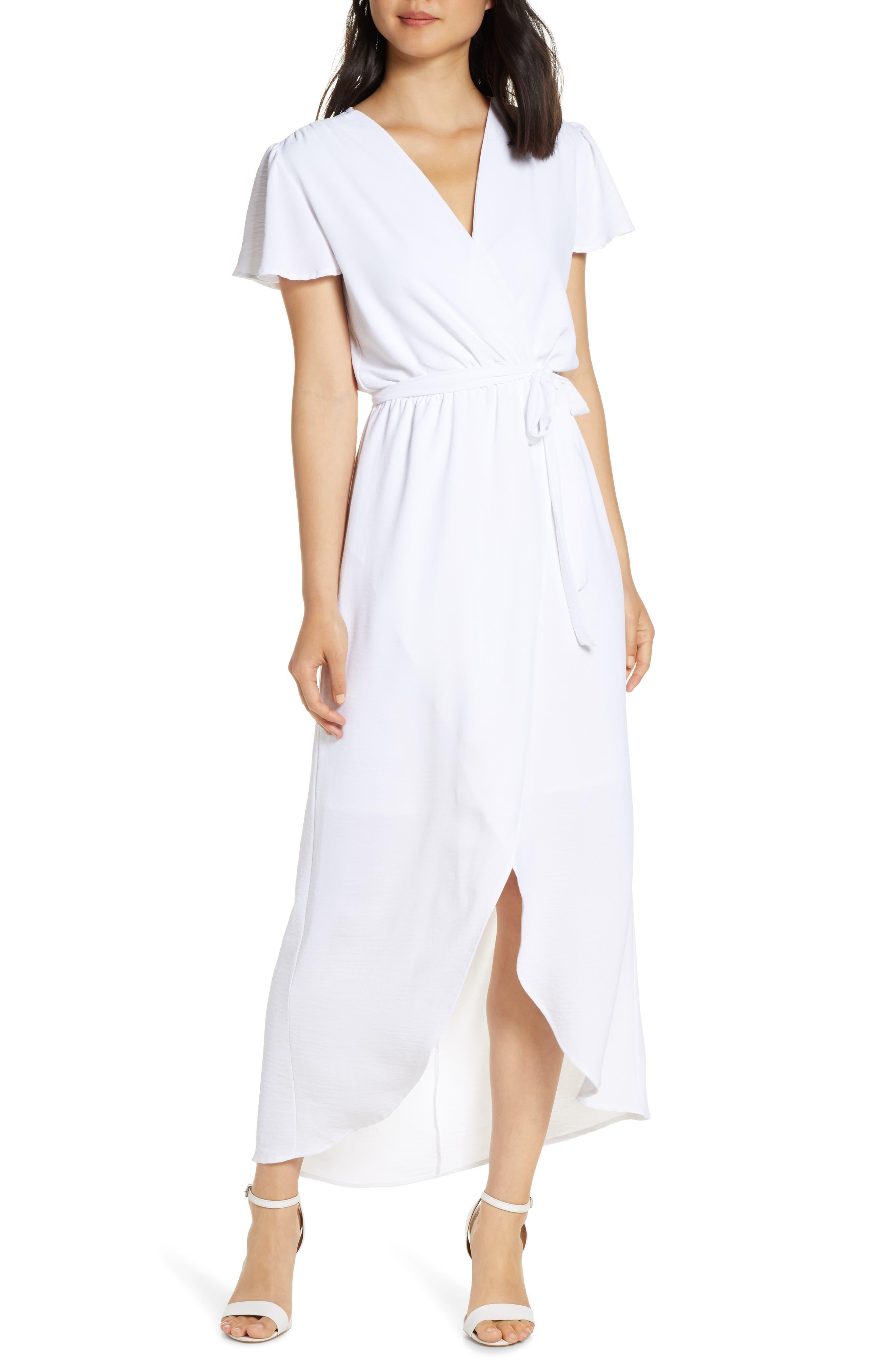 Fraiche By J High/low Wrap Dress, White