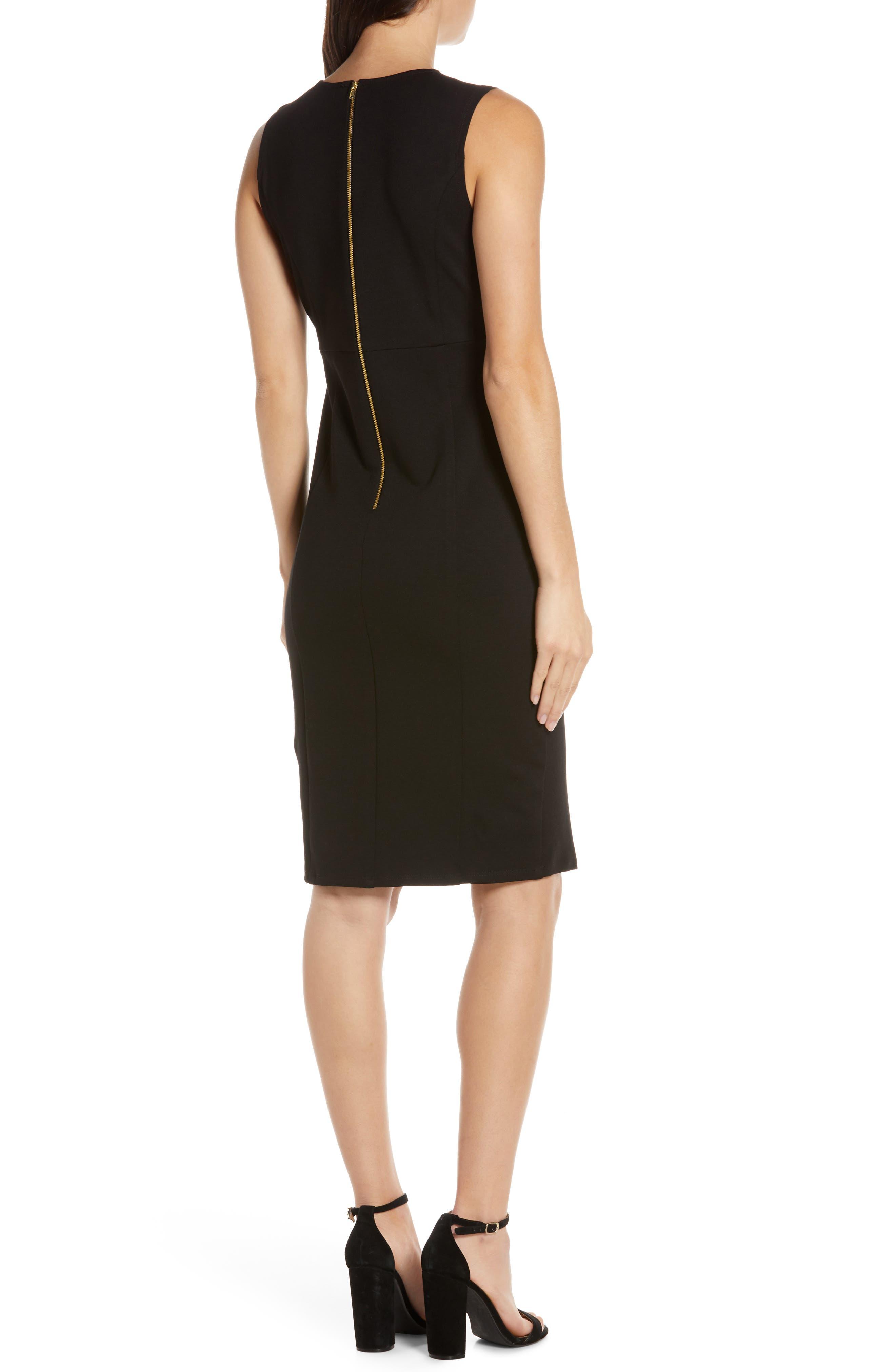 CHARLES HENRY, Sleeveless Sheath Dress, Alternate thumbnail 2, color, BLACK