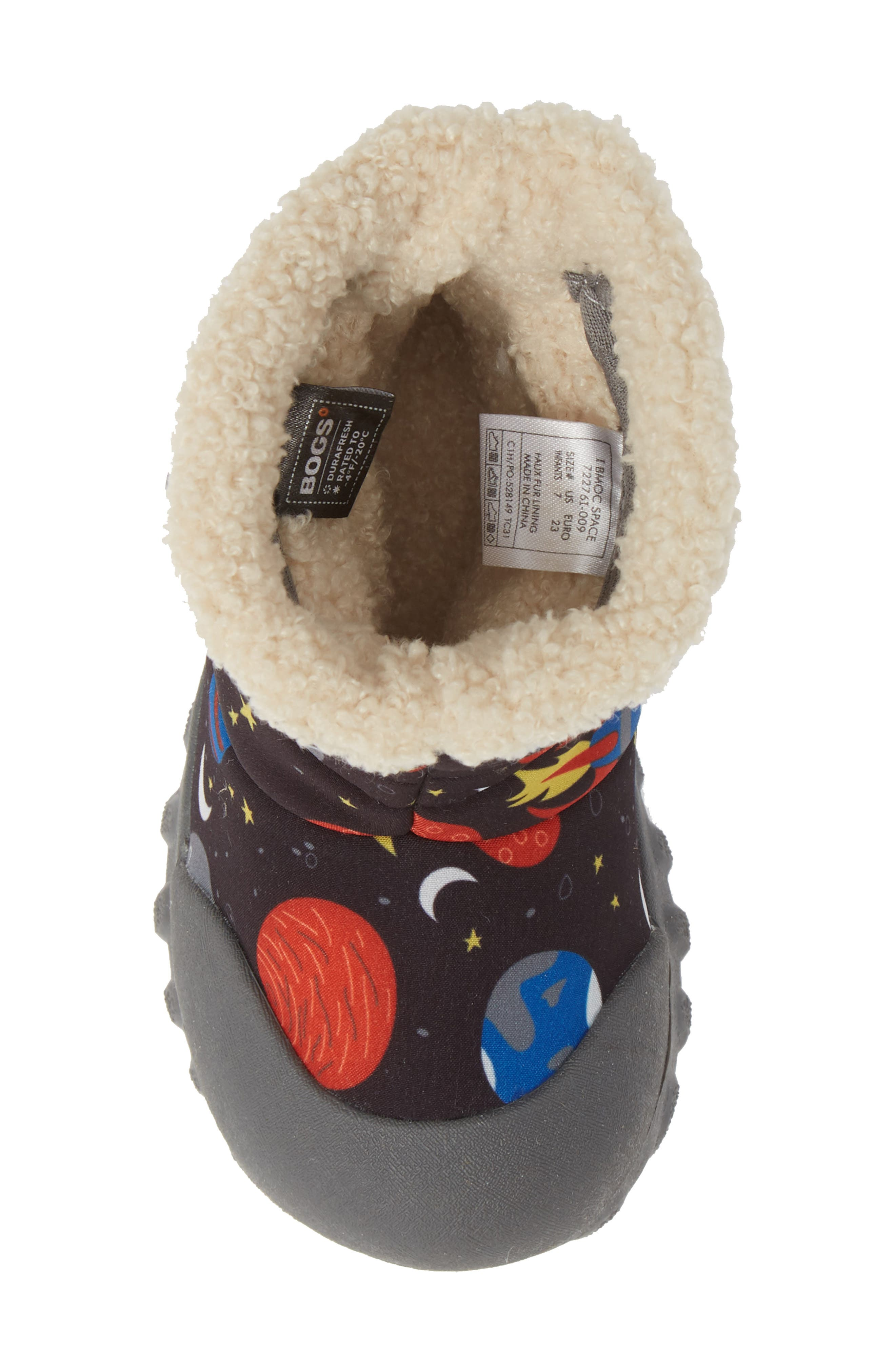 BOGS, B-MOC Space Waterproof Insulated Faux Fur Boot, Alternate thumbnail 5, color, BLACK MULTI