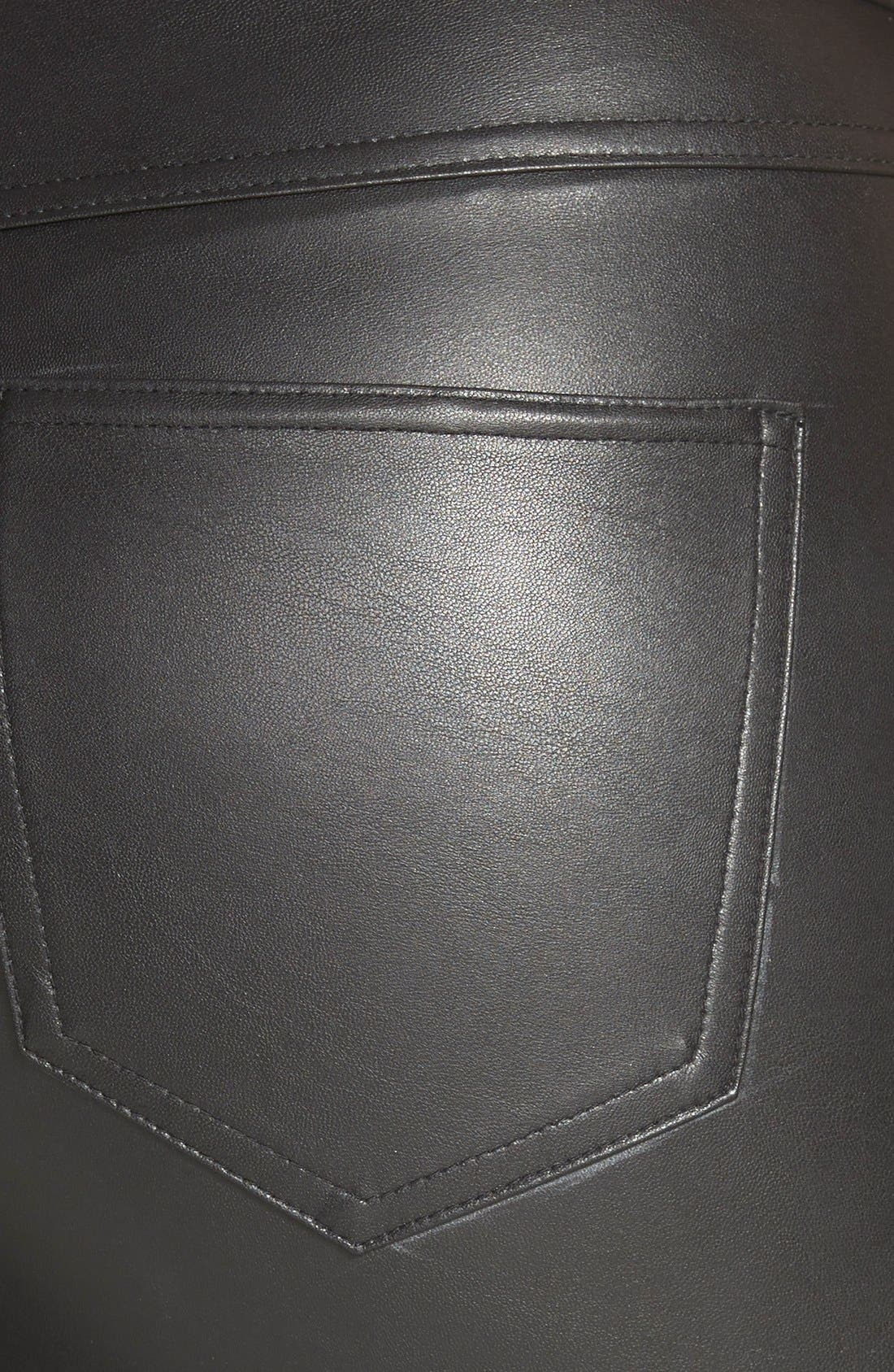 HUE, Faux Leather Leggings, Alternate thumbnail 2, color, 001