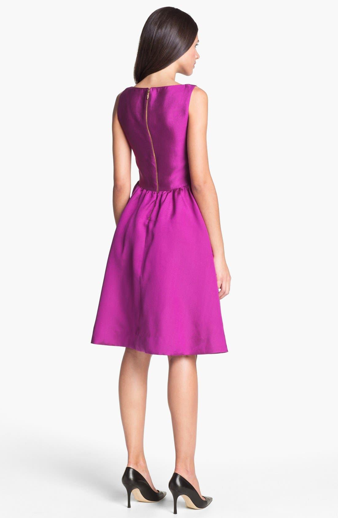 KATE SPADE NEW YORK, 'landry' silk blend fit & flare dress, Alternate thumbnail 3, color, 500