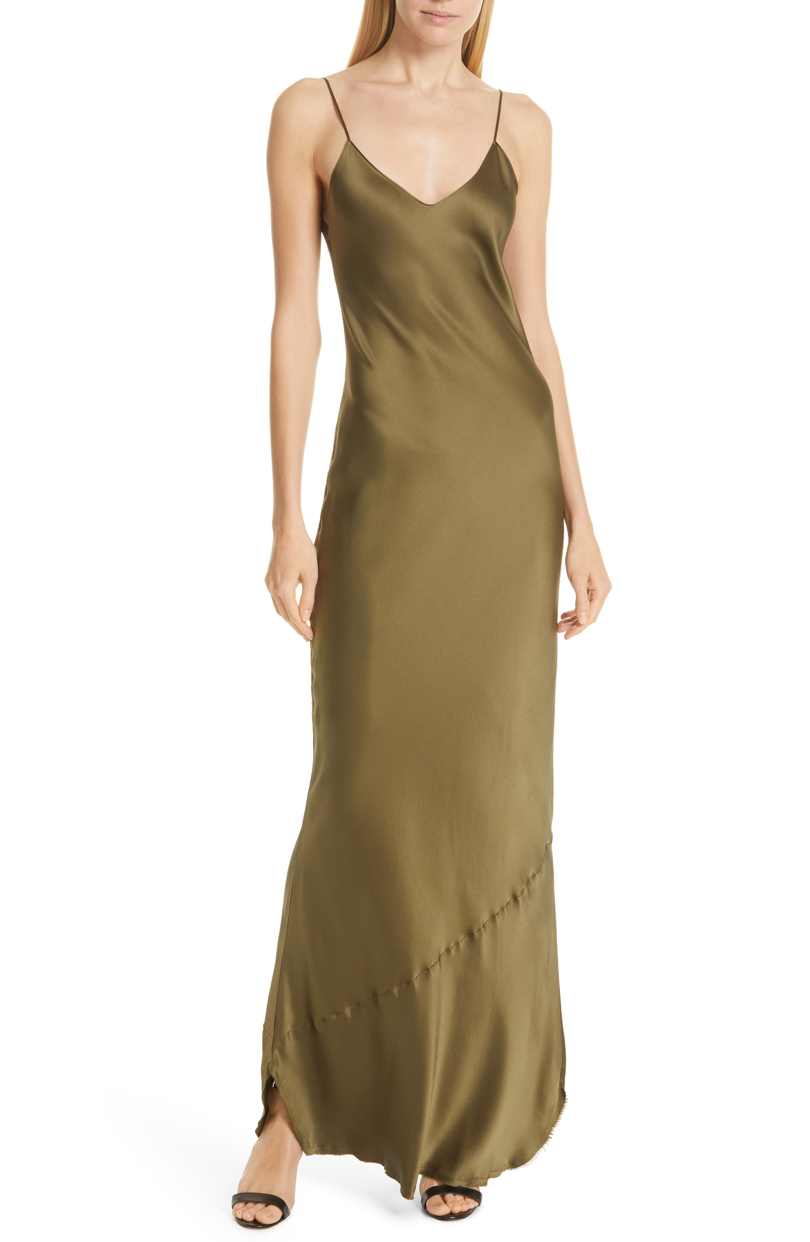NILI LOTAN Silk Camisole Gown, Main, color, OLIVE
