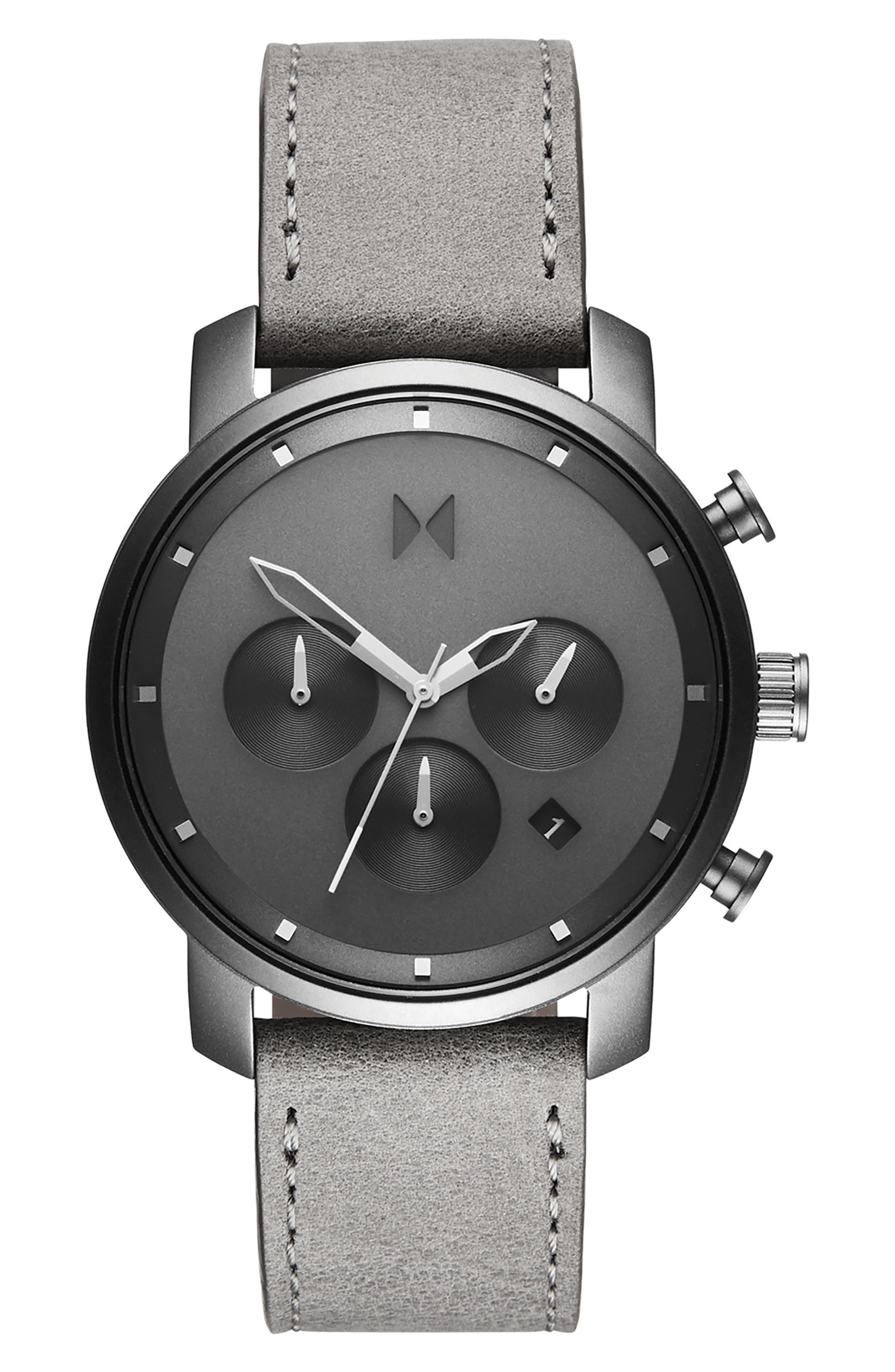 MVMT, Mono Chronograph Leather Strap Watch, 40mm, Main thumbnail 1, color, GREY/ SILVER