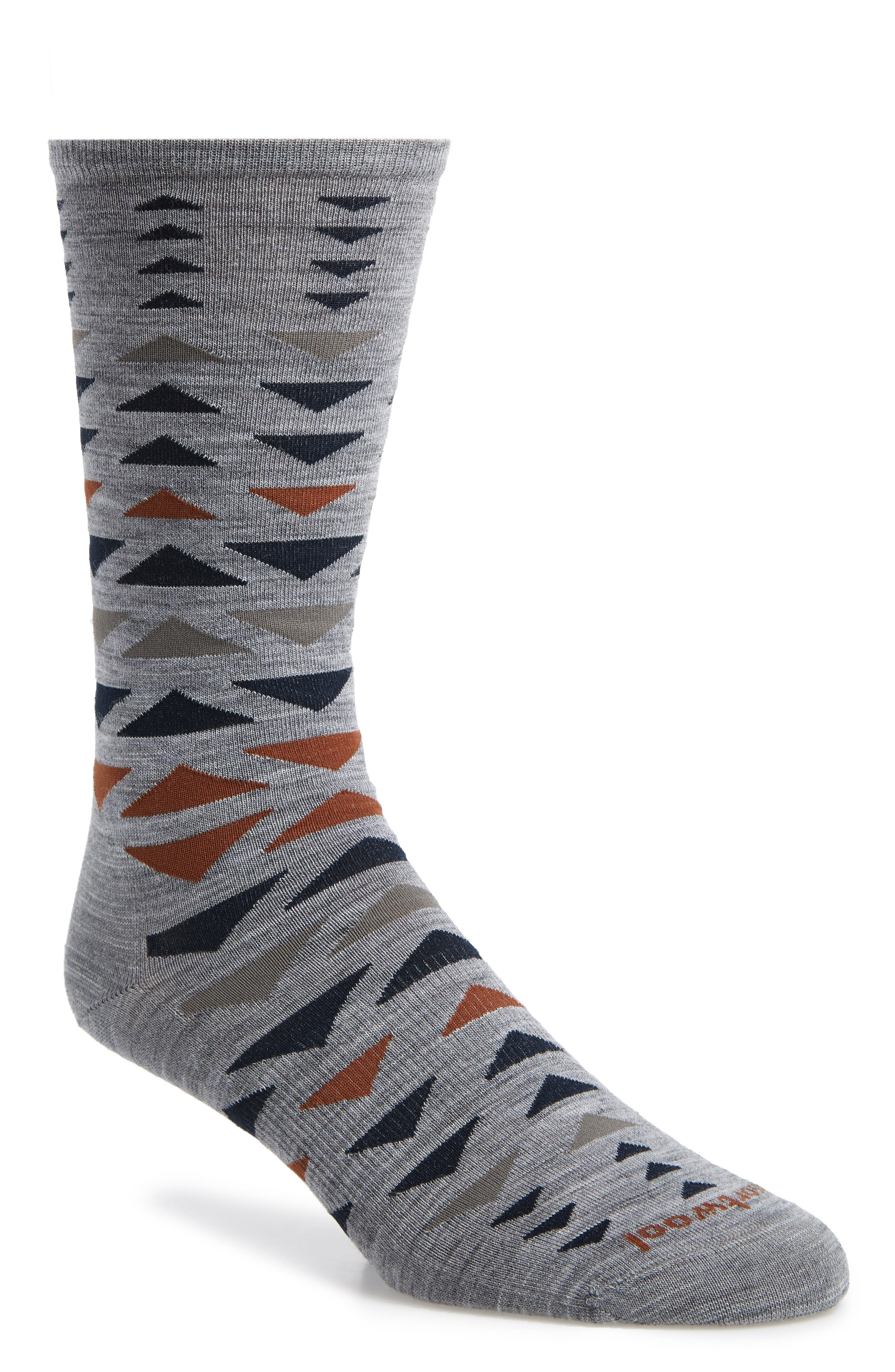 SMARTWOOL Burgee Geometric Socks, Main, color, LIGHT GREY