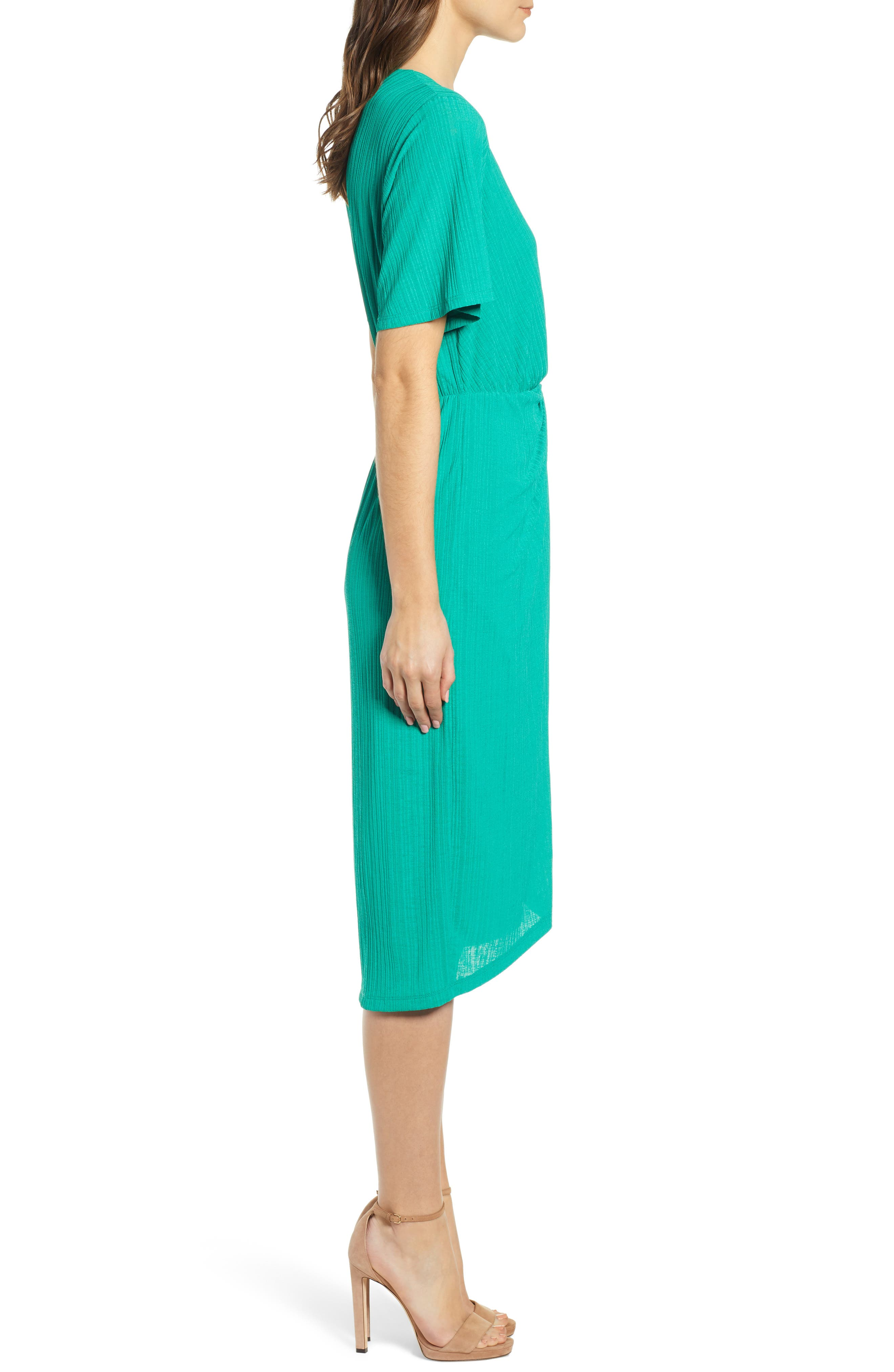 ALL IN FAVOR, Knot Front Midi Dress, Alternate thumbnail 4, color, PINE GREEN