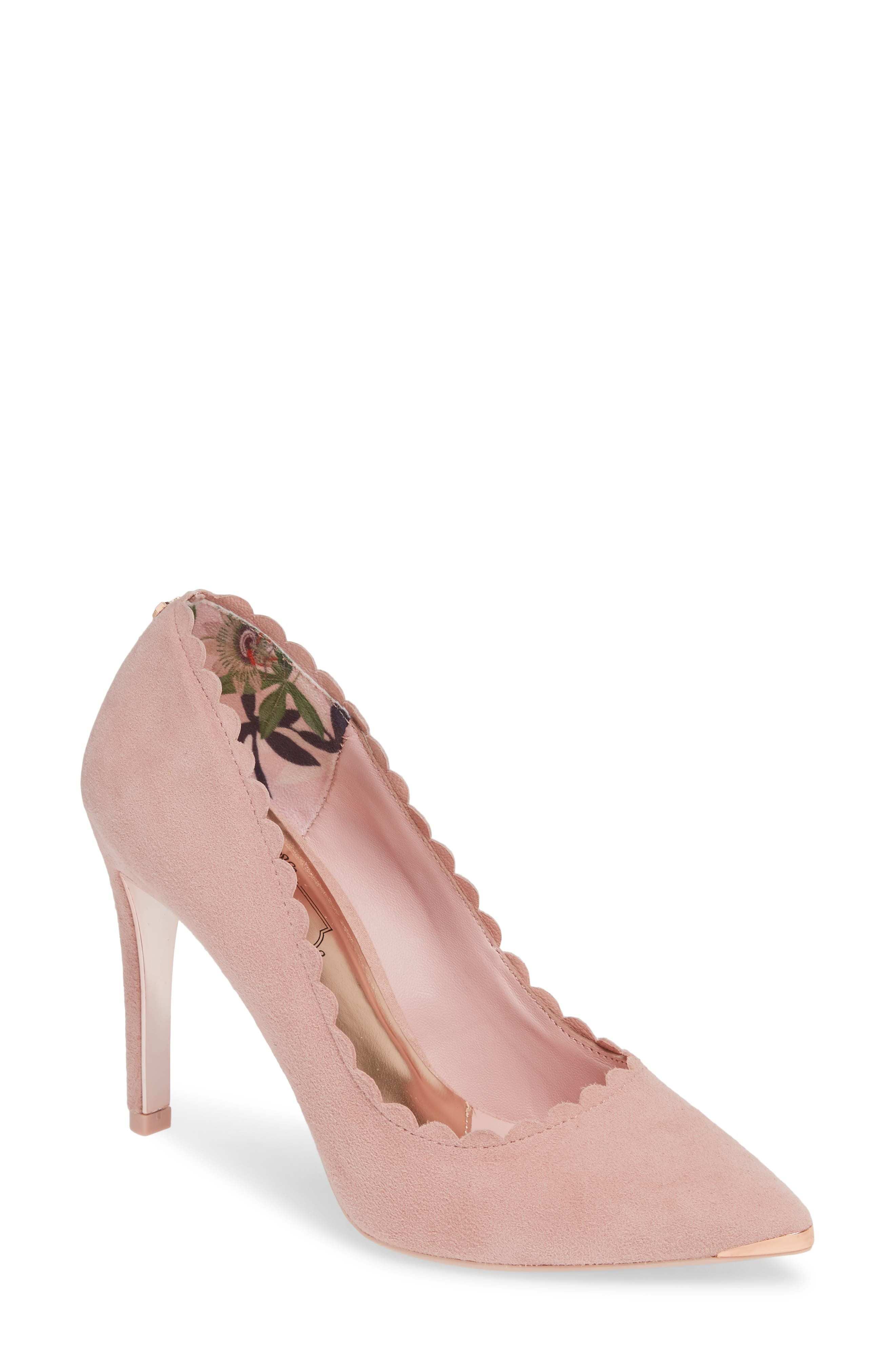 TED BAKER LONDON, Sloana Pointy Toe Pump, Main thumbnail 1, color, PINK BLOSSOM SUEDE