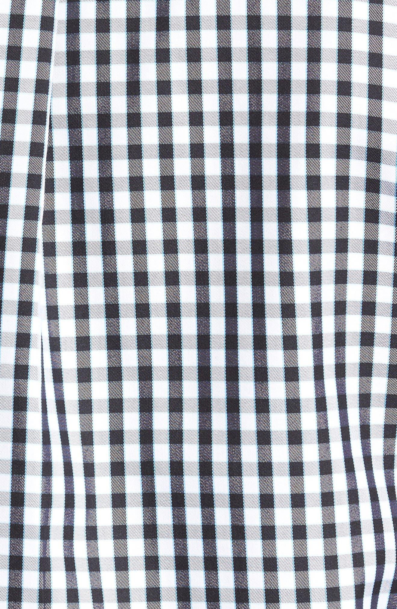 PETER MILLAR, Black Sand Regular Fit Gingham Check Sport Shirt, Alternate thumbnail 5, color, BLACK