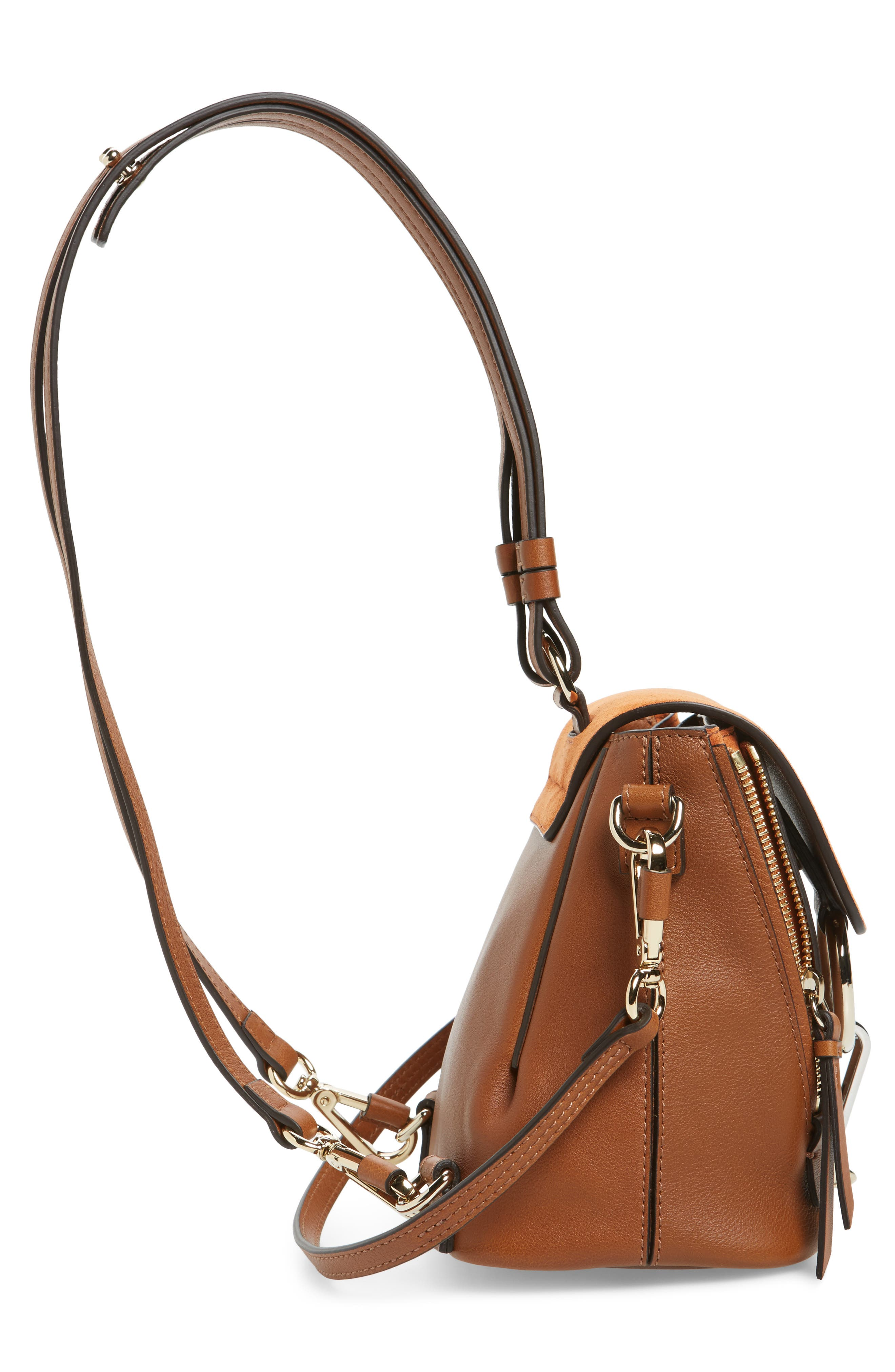 CHLOÉ, Mini Faye Leather & Suede Backpack, Alternate thumbnail 5, color, TAN