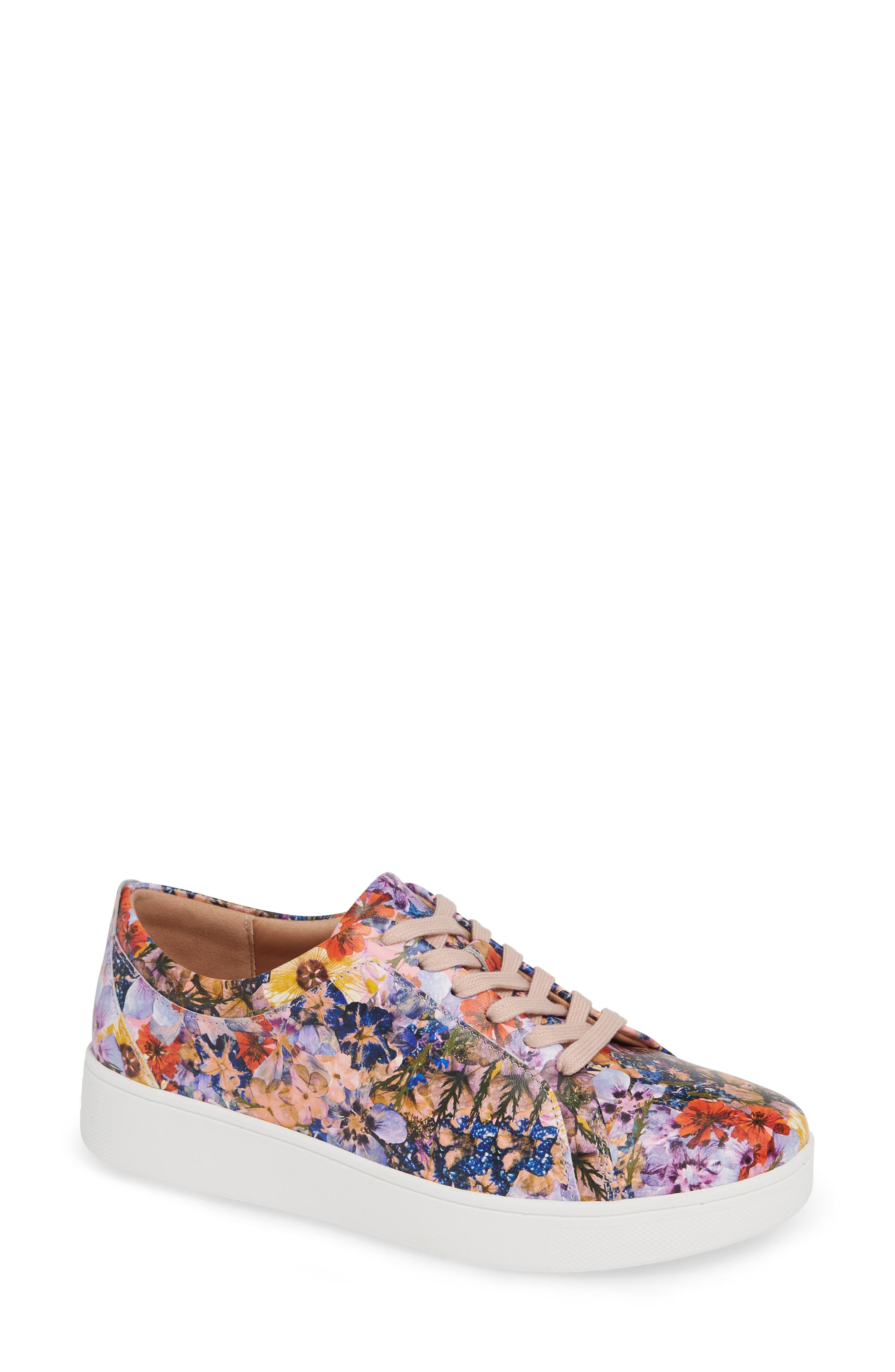 FITFLOP Rally Flower Crush Leather Sneaker, Main, color, OYSTER PINK FLOWER