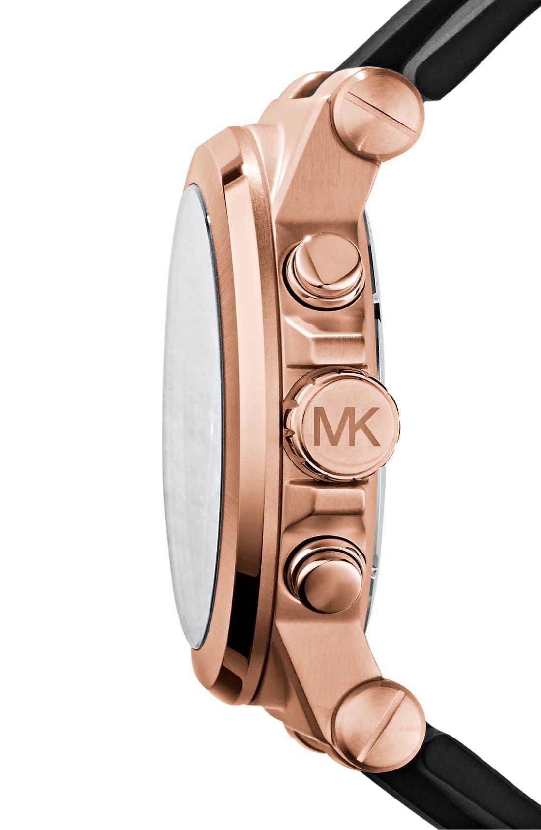 MICHAEL KORS, Chronograph Watch, 45mm, Alternate thumbnail 3, color, ROSE GOLD/ BLACK