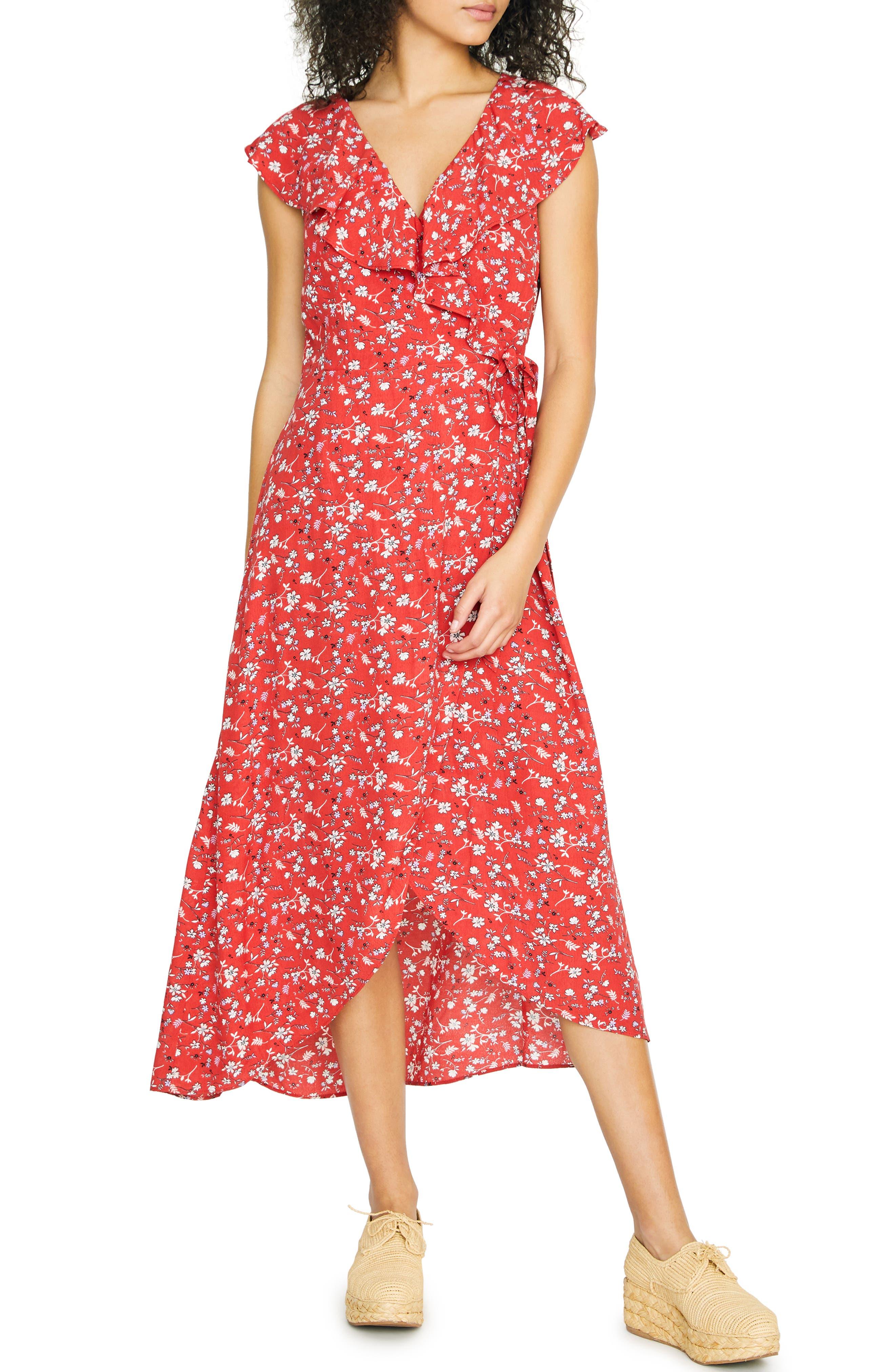 SANCTUARY, Jolynn Faux Wrap Midi Dress, Main thumbnail 1, color, SIMPLY RED