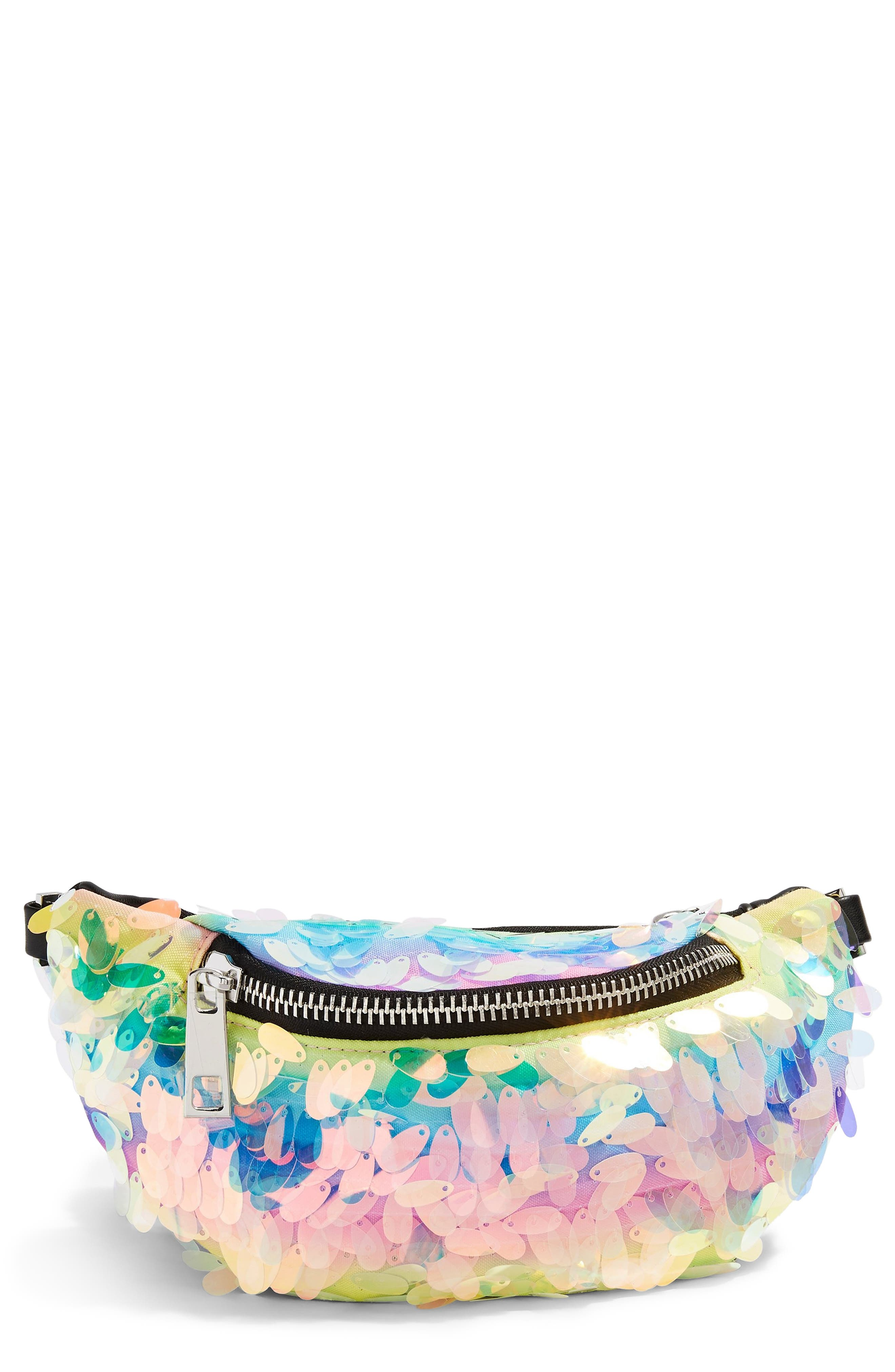TOPSHOP Topsho Brazil Sequin Belt Bag, Main, color, BLACK MULTI