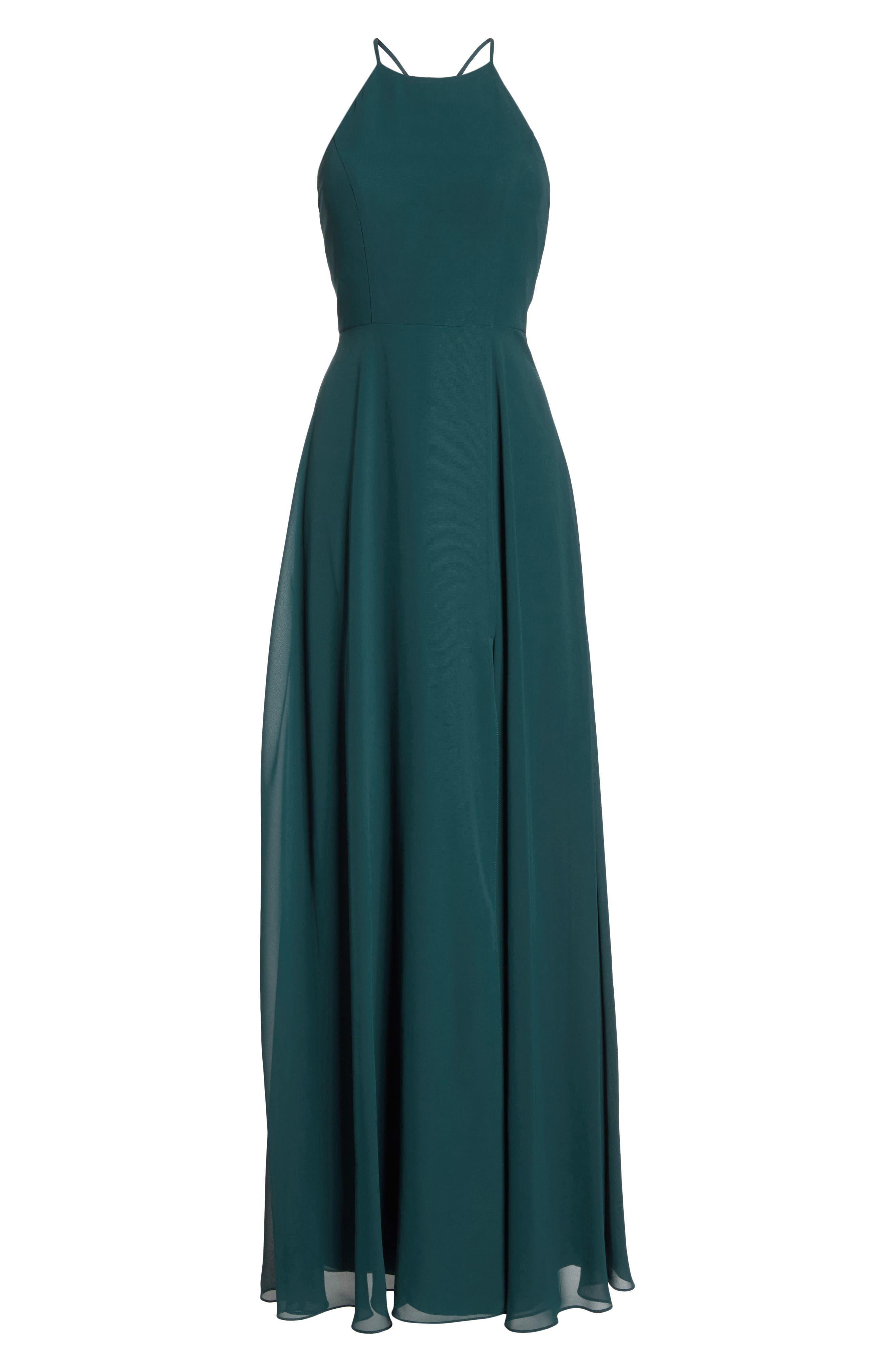 JENNY YOO, Kayla A-Line Halter Gown, Alternate thumbnail 8, color, CASPIAN SEA