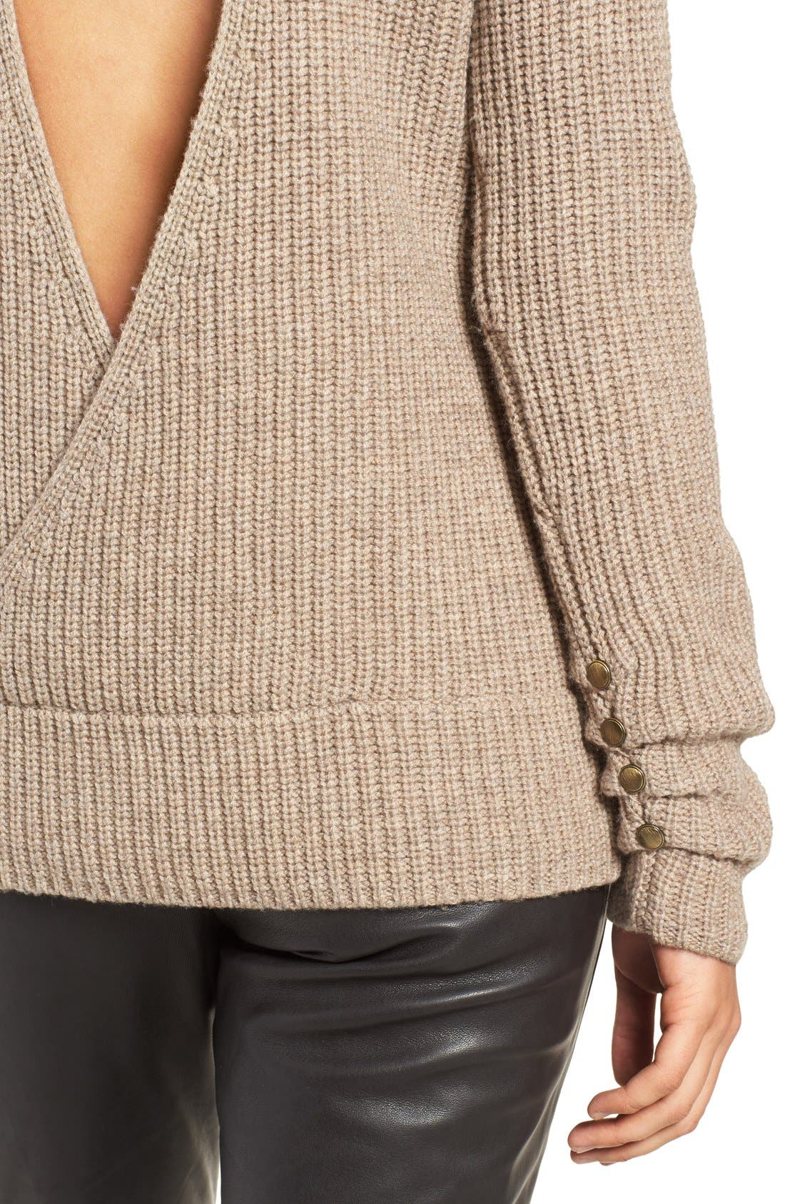 OLIVIA PALERMO + CHELSEA28, Open Back Wool & Cashmere Turtleneck Sweater, Alternate thumbnail 5, color, 235