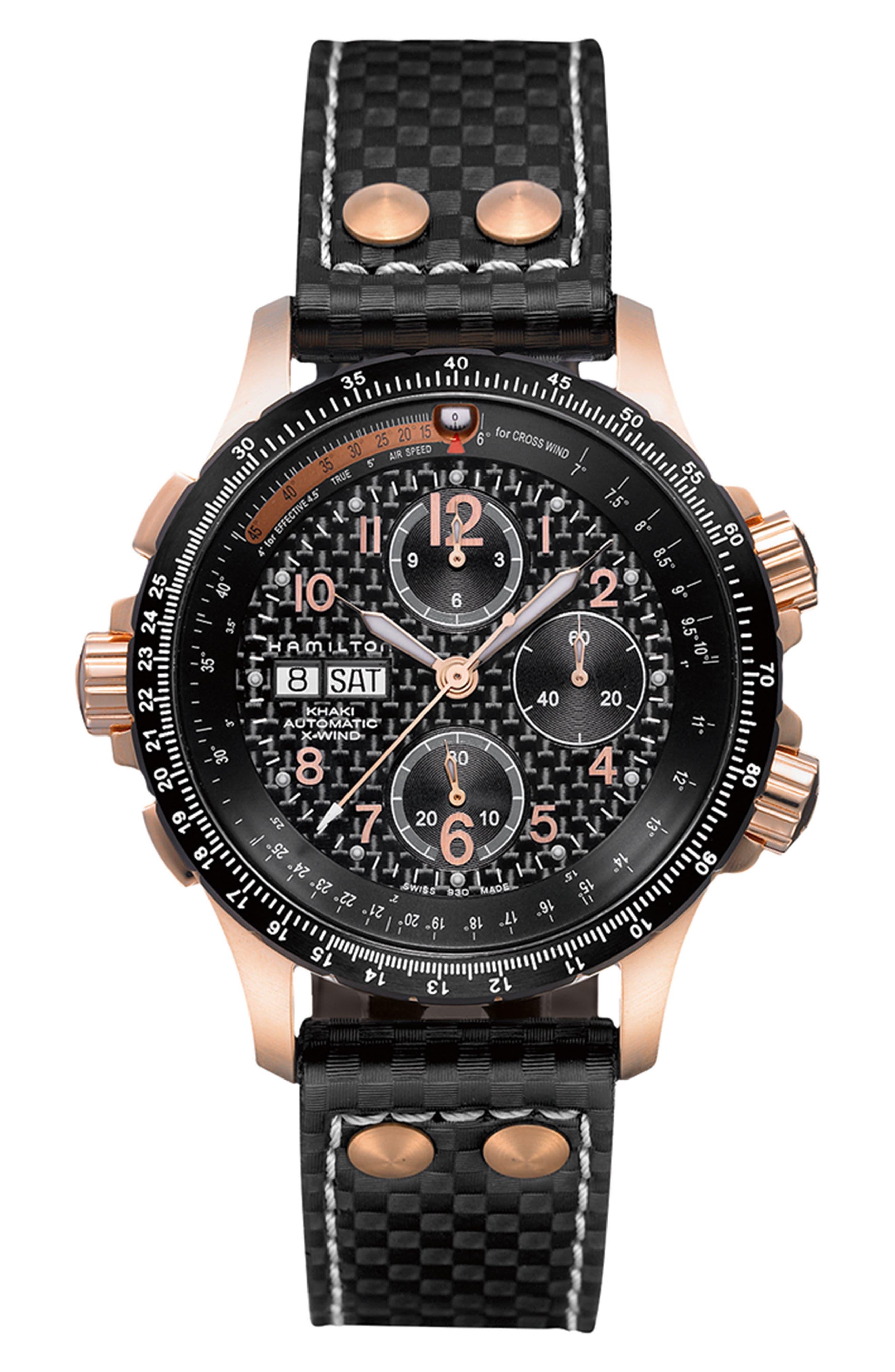 HAMILTON, Khaki X-Wind Automatic Chronograph Leather Strap Watch, 44mm, Main thumbnail 1, color, BLACK/ ROSE GOLD