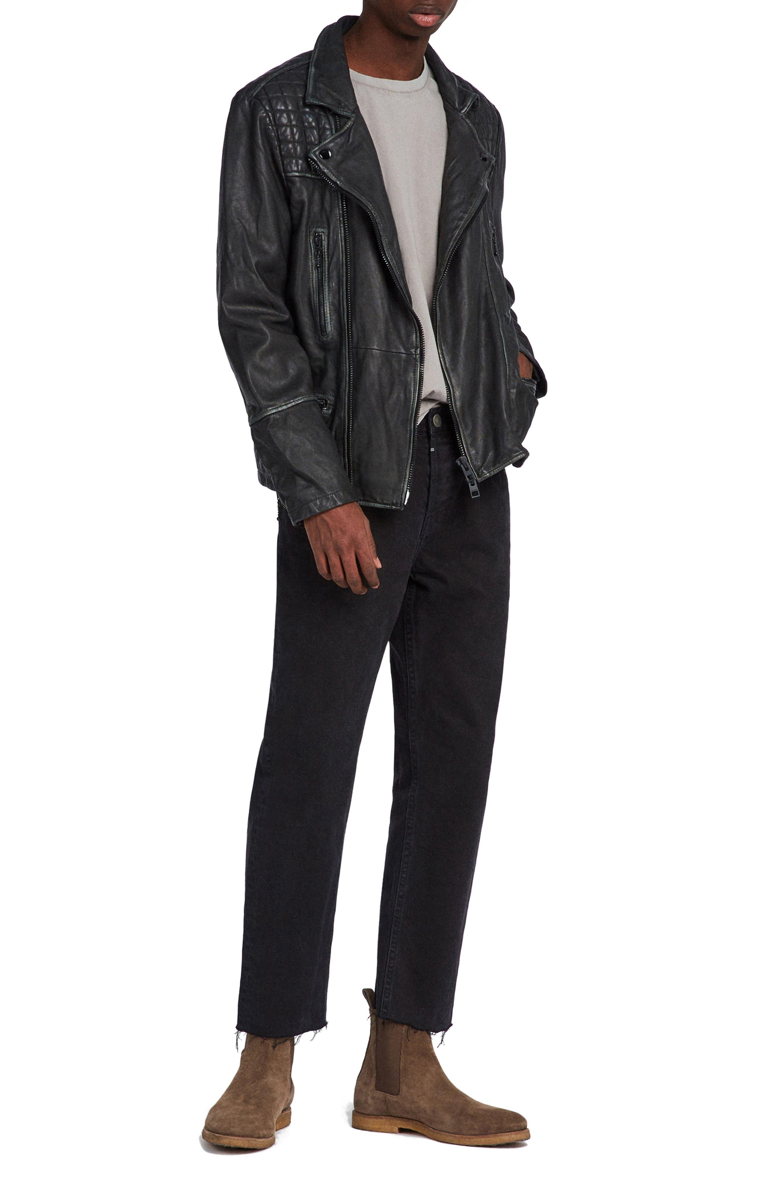 ALLSAINTS, Cargo Biker Slim Fit Leather Jacket, Alternate thumbnail 7, color, BLACK GREY