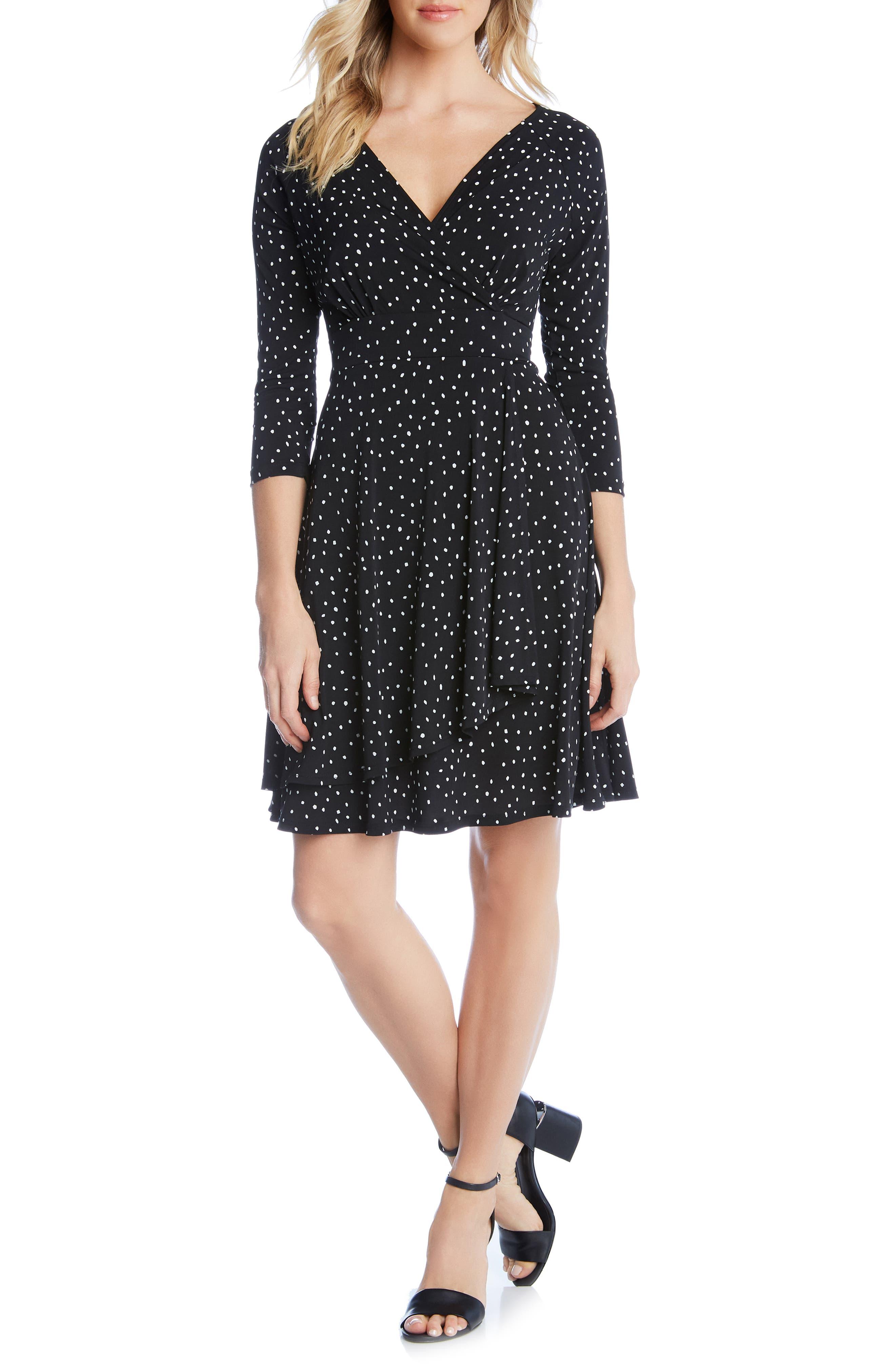 KAREN KANE Faux Wrap Dress, Main, color, 001