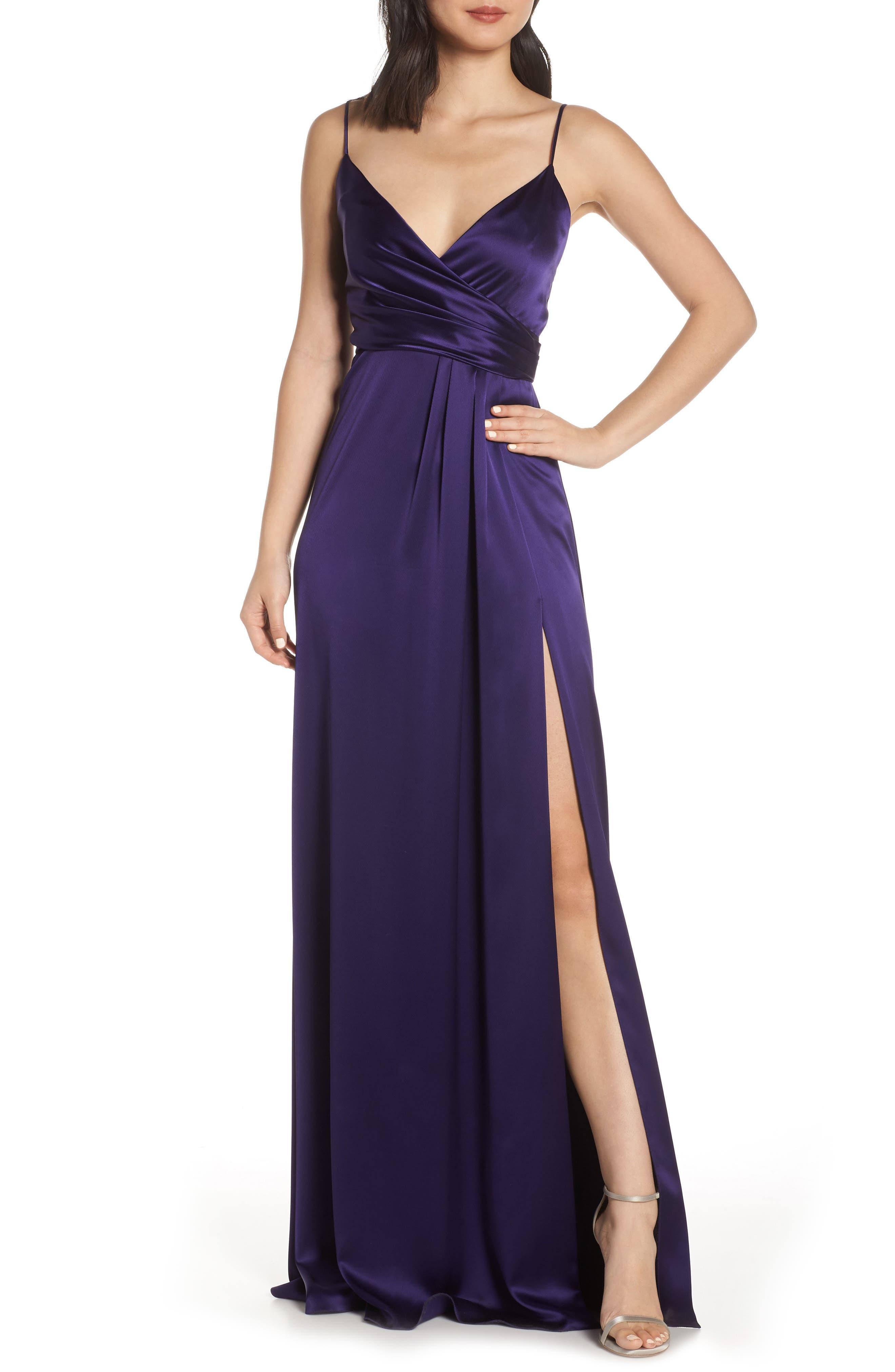 Jill Jill Stuart Faux Wrap Satin Gown, Blue