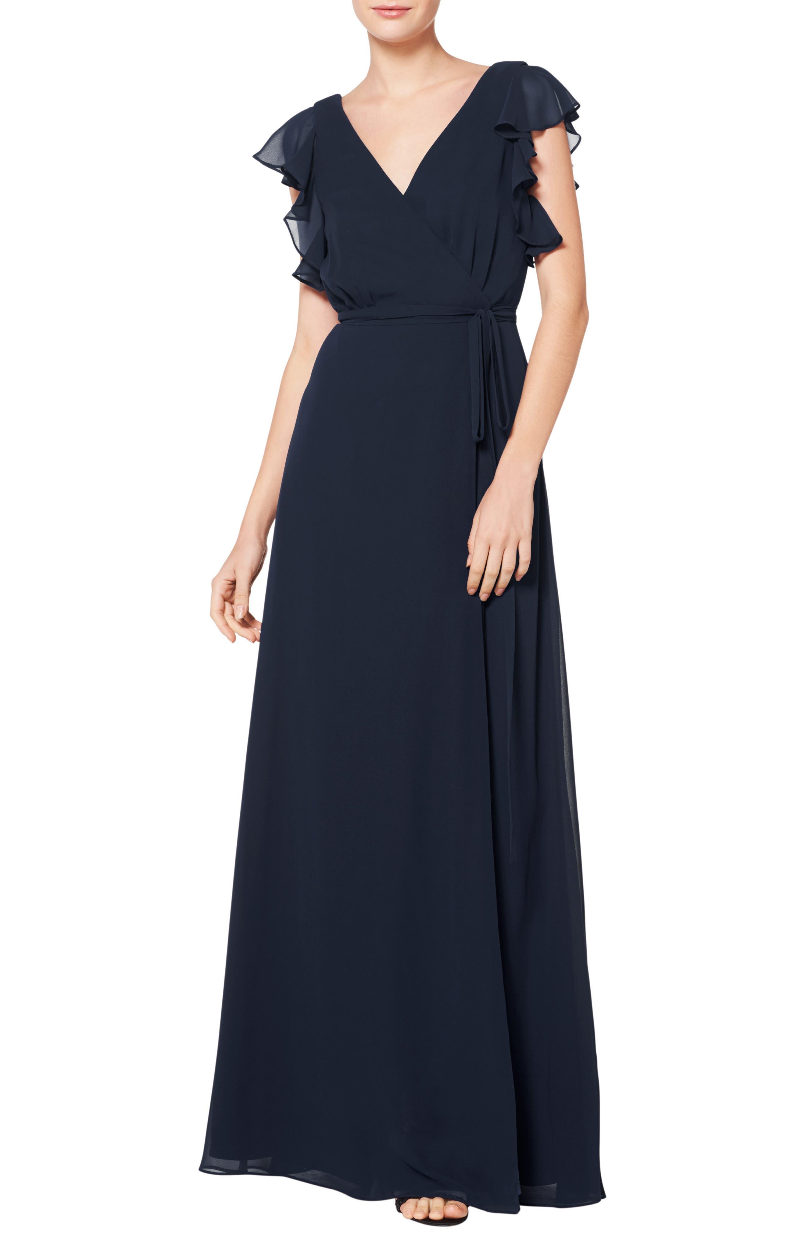 #LEVKOFF, Ruffle Sleeve Chiffon Wrap Evening Dress, Main thumbnail 1, color, NAVY