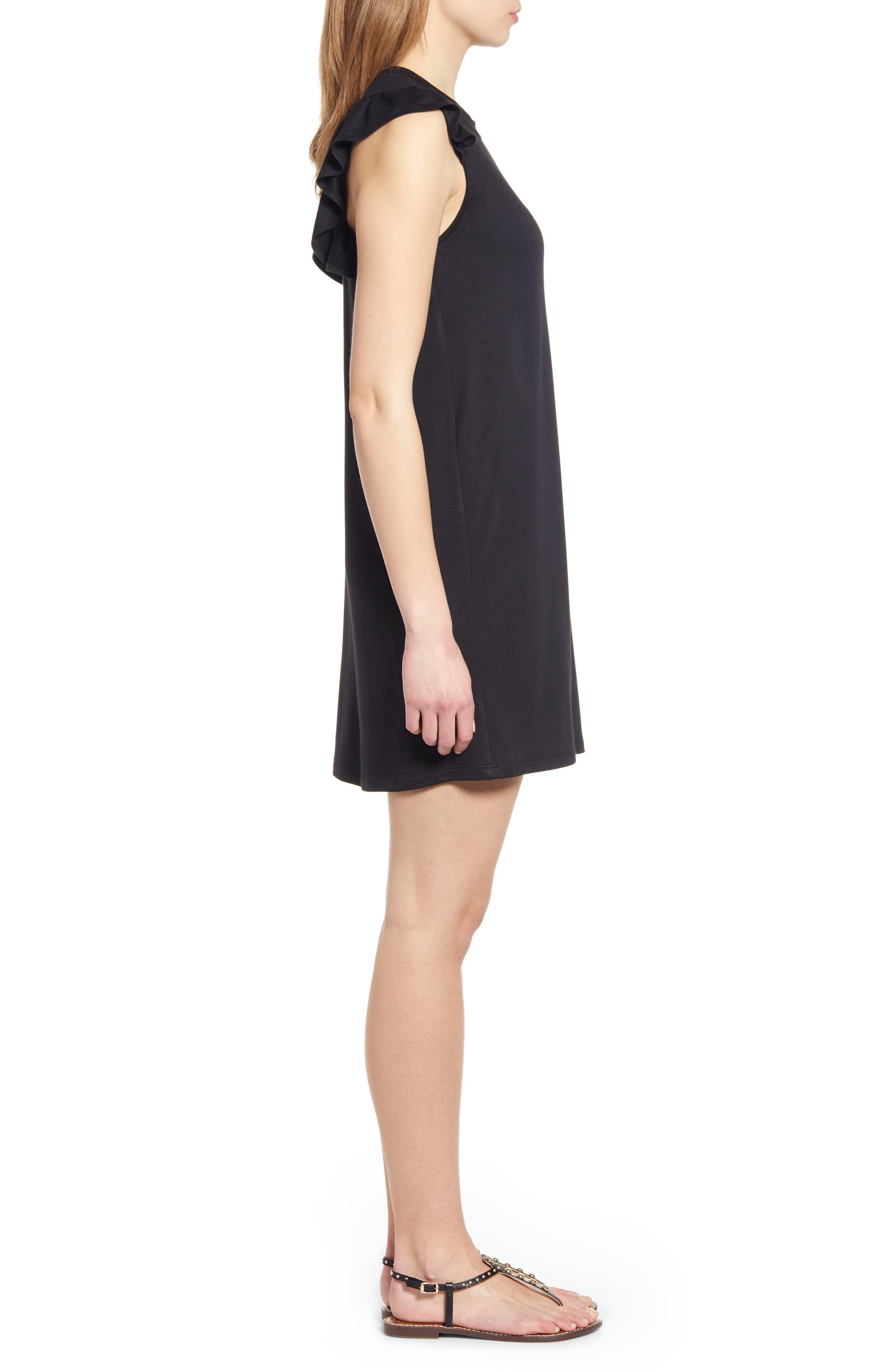 GIBSON, x Hi Sugarplum! Laguna Soft Jersey Ruffle Back T-Shirt Dress, Alternate thumbnail 4, color, BLACK