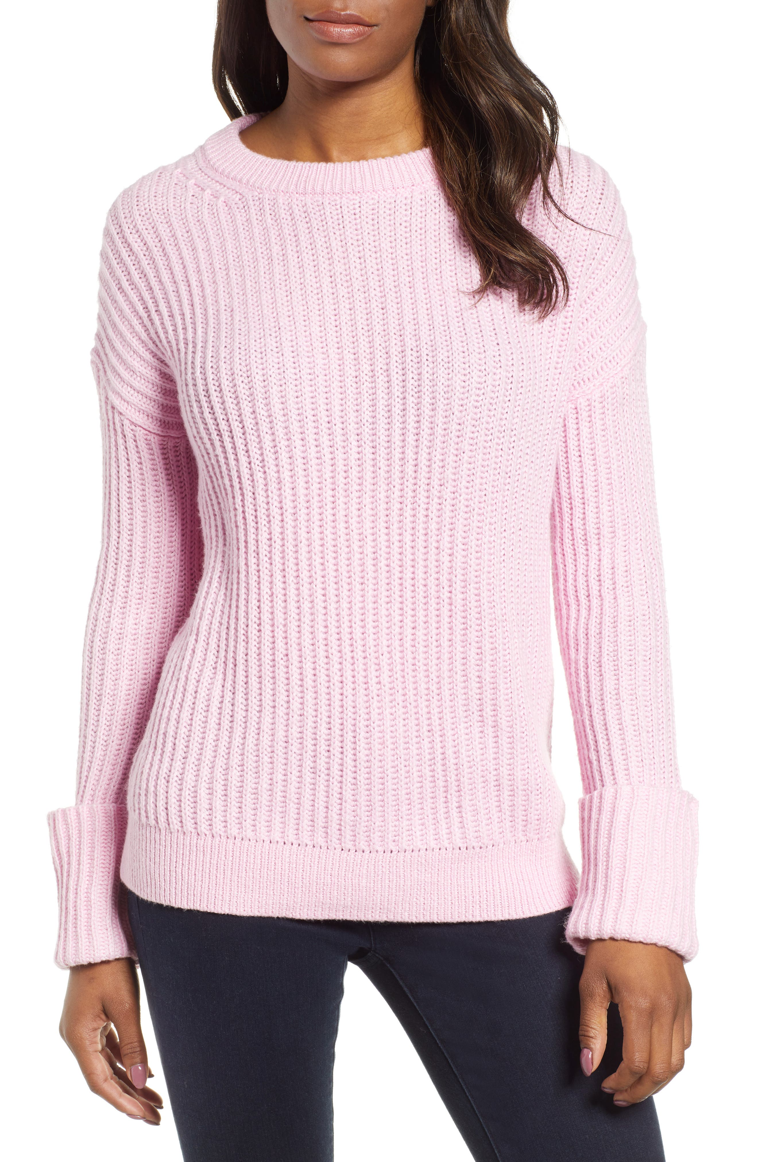 CASLON<SUP>®</SUP>, Cuffed Sleeve Shaker Sweater, Main thumbnail 1, color, PINK FLOWER