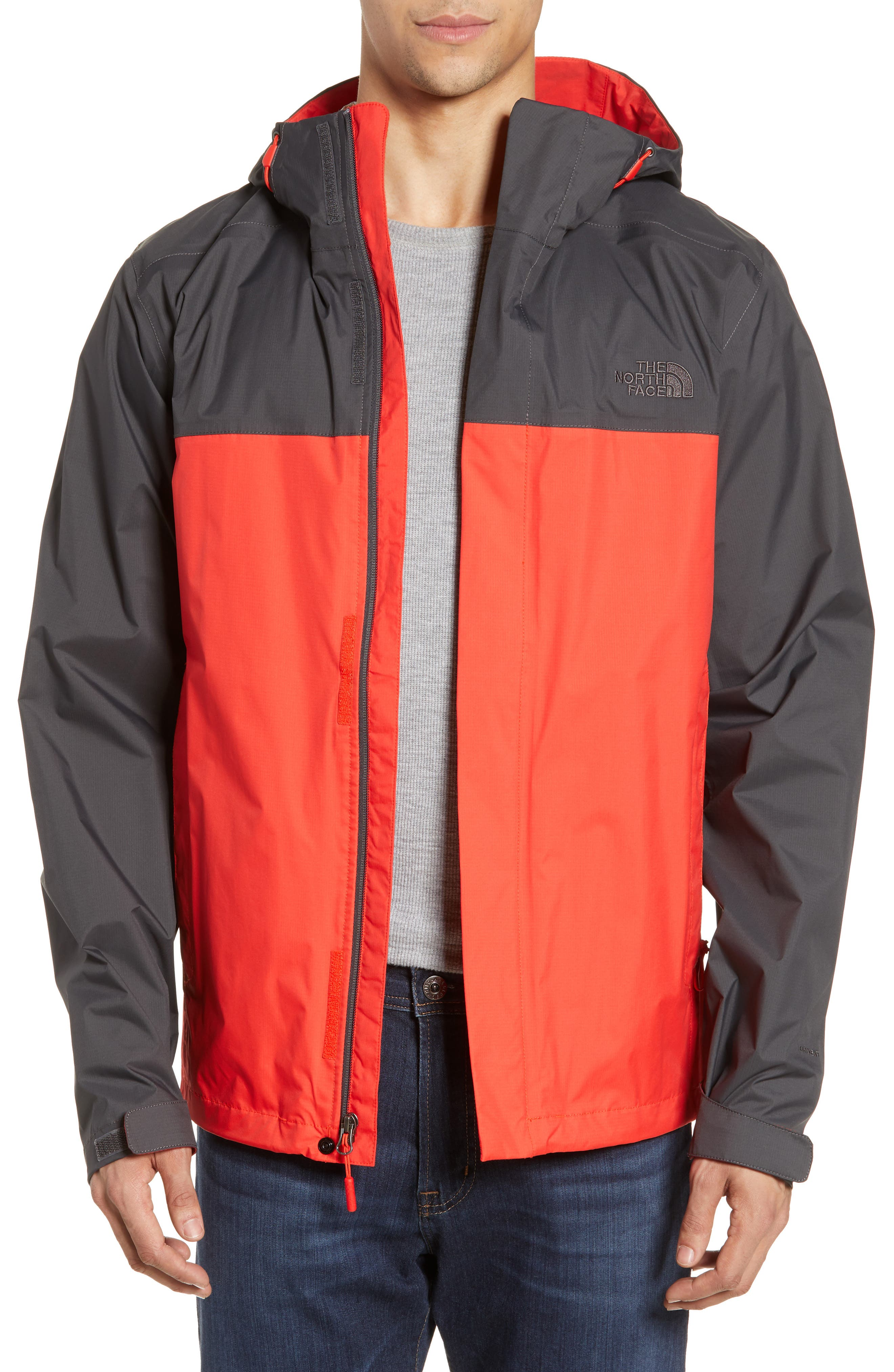 THE NORTH FACE, Venture II Raincoat, Main thumbnail 1, color, FIERY RED/ ASPHALT GREY