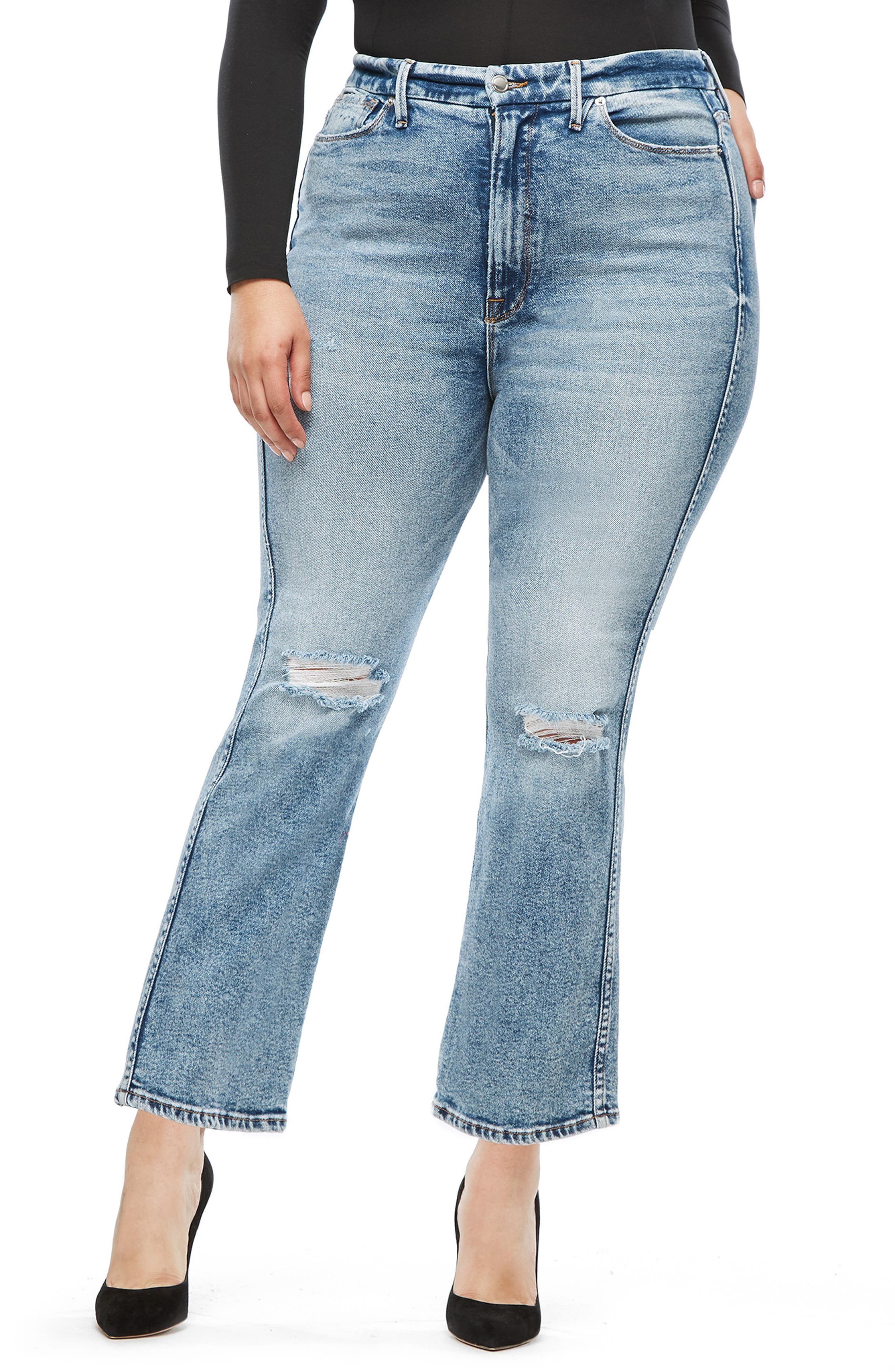 GOOD AMERICAN, Good Curve High Waist Ankle Straight Leg Jeans, Alternate thumbnail 2, color, 401