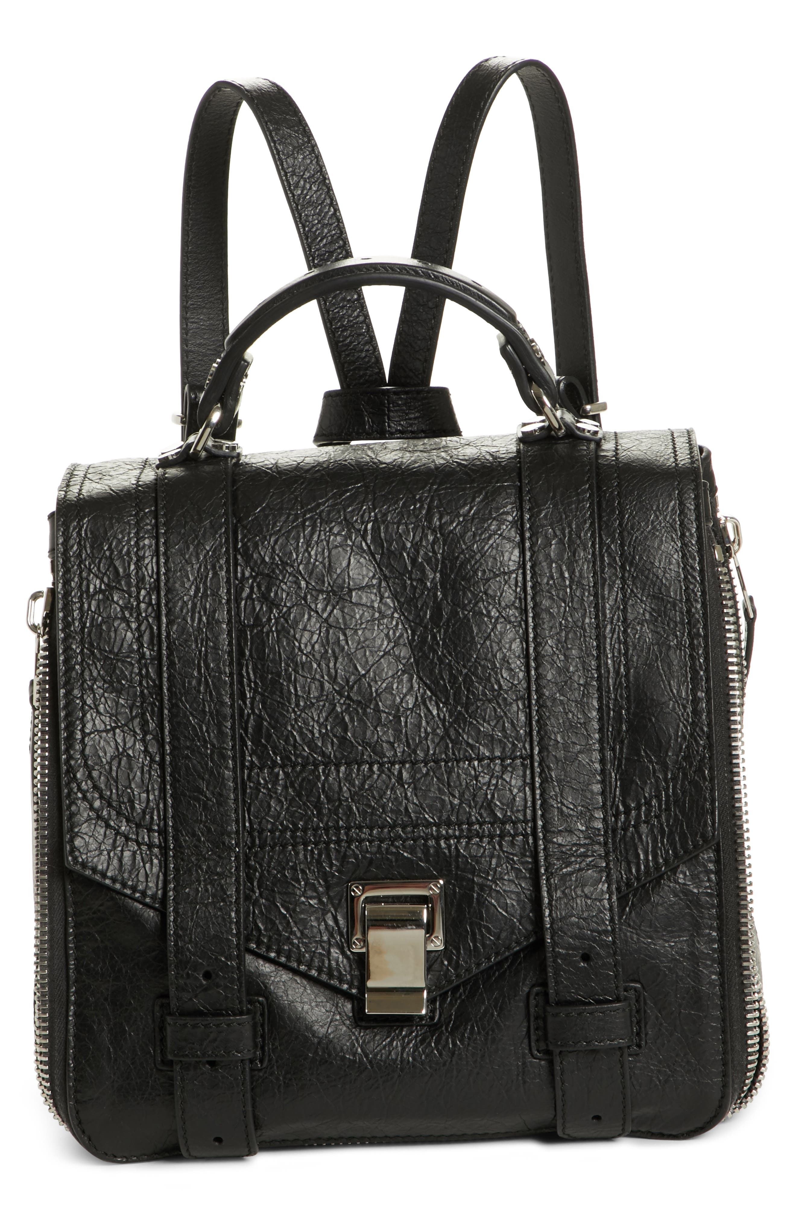 PROENZA SCHOULER, PS1 Leather Convertible Backpack, Main thumbnail 1, color, BLACK