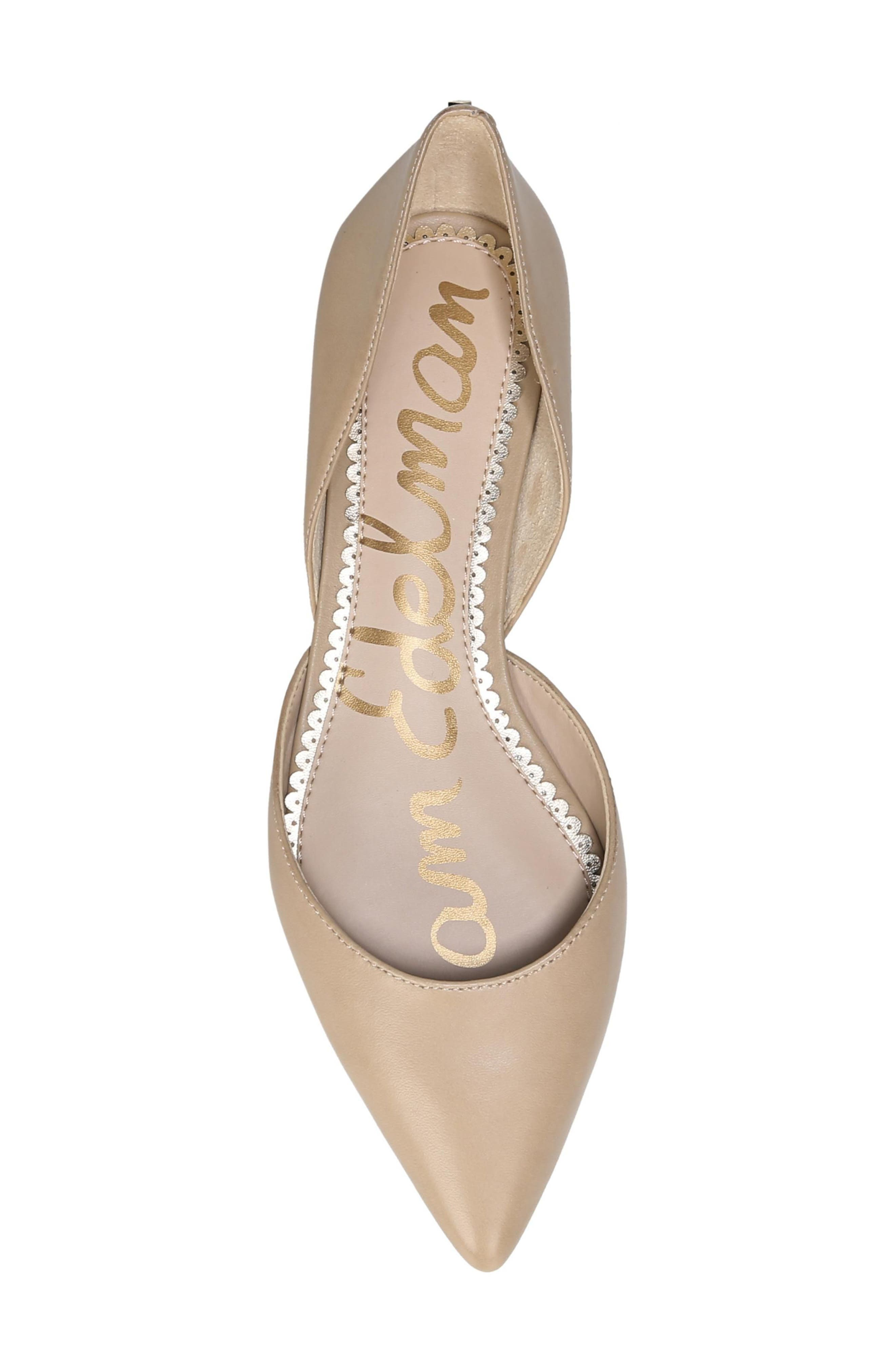 SAM EDELMAN, Rodney Pointy Toe d'Orsay Flat, Alternate thumbnail 5, color, CLASSIC NUDE LEATHER