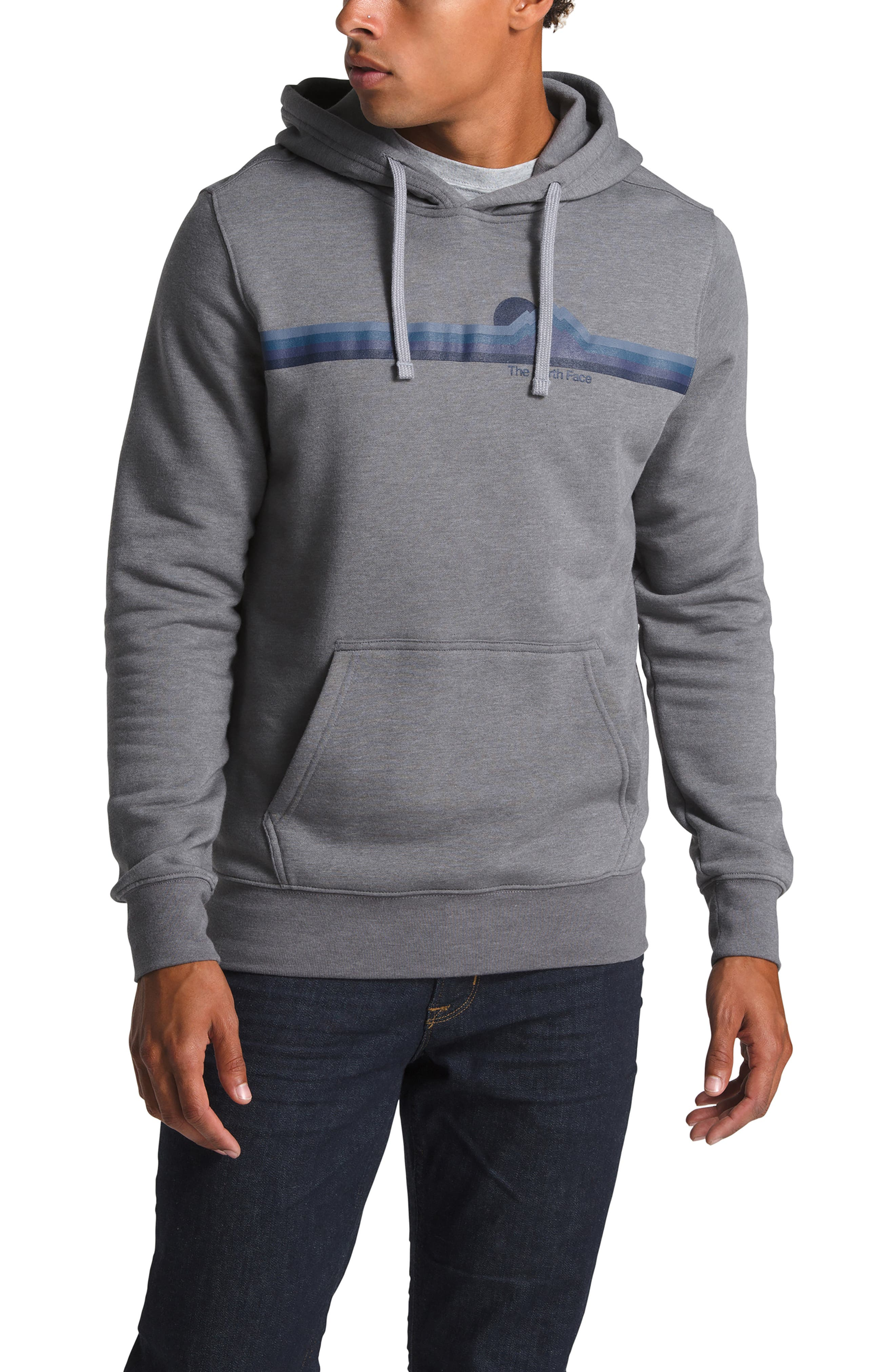 THE NORTH FACE, Gradient Sunset Pullover Hoodie, Main thumbnail 1, color, TNF MEDIUM GREY HEATHER