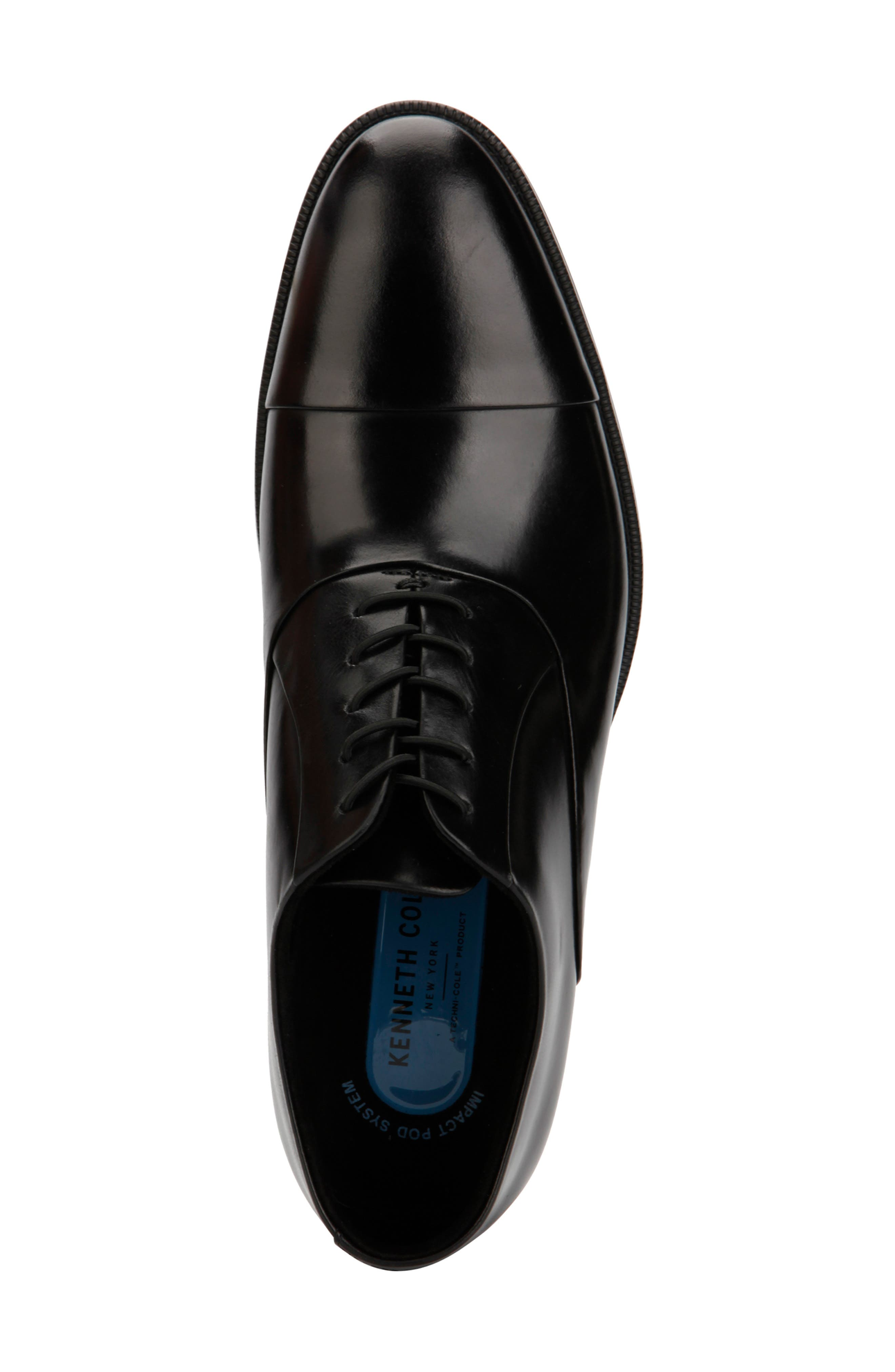 KENNETH COLE NEW YORK, Futurepod Cap Toe Oxford, Alternate thumbnail 3, color, BLACK LEATHER