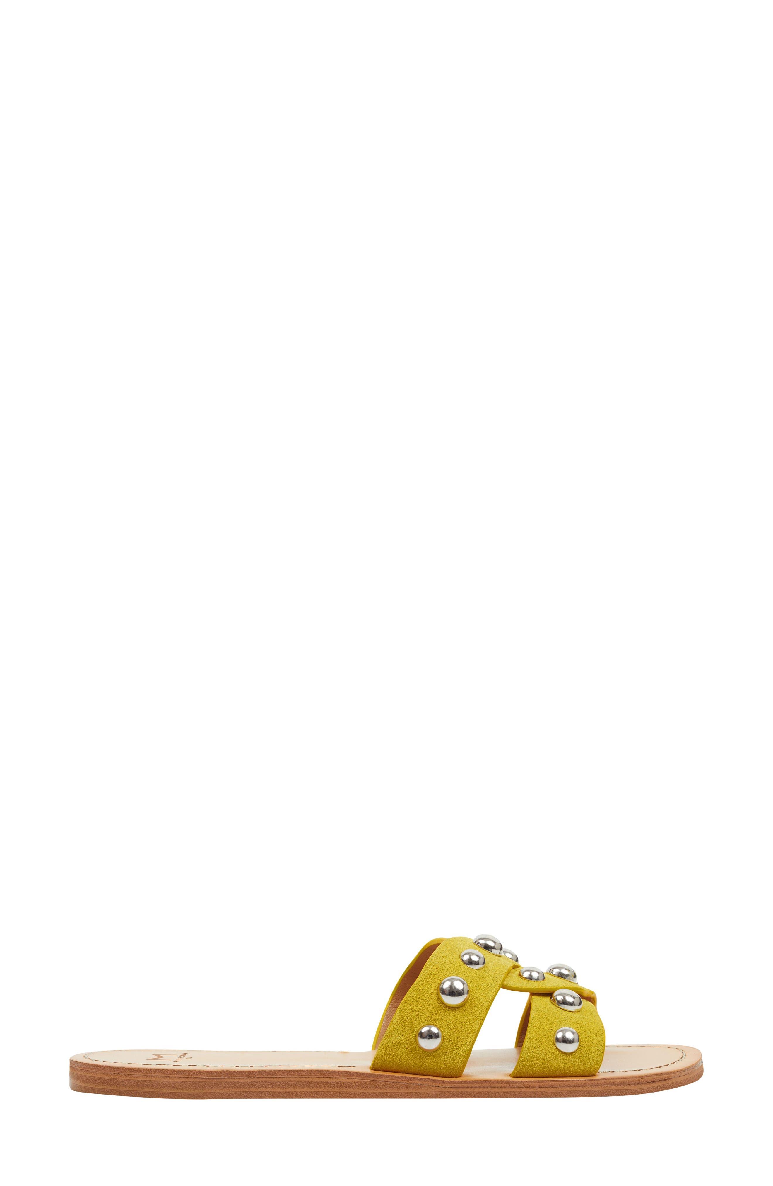 MARC FISHER LTD, Pagie Slide Sandal, Alternate thumbnail 3, color, YELLOW SUEDE