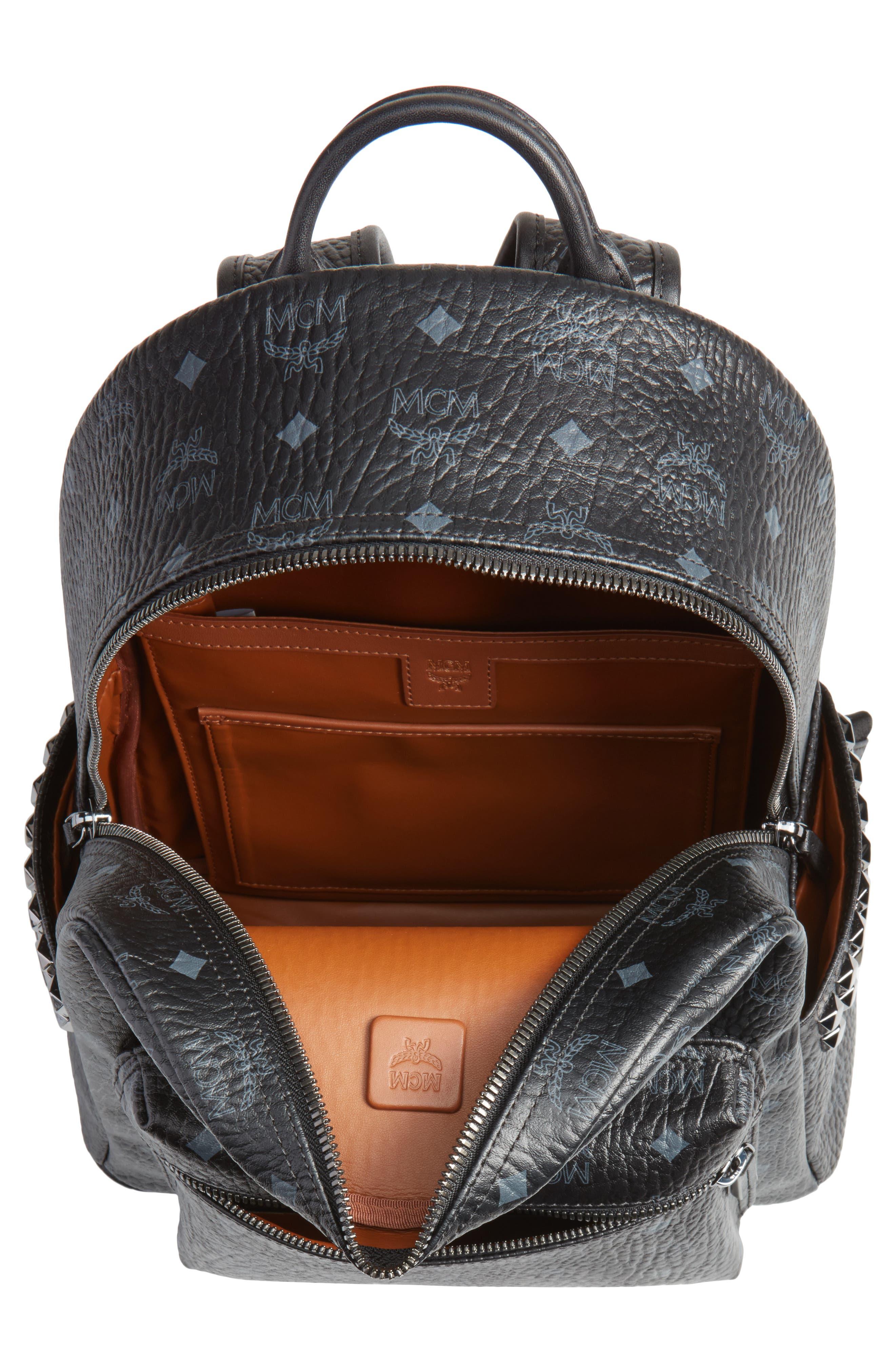 MCM, Medium Stark Side Stud Coated Canvas Backpack, Alternate thumbnail 5, color, BLACK