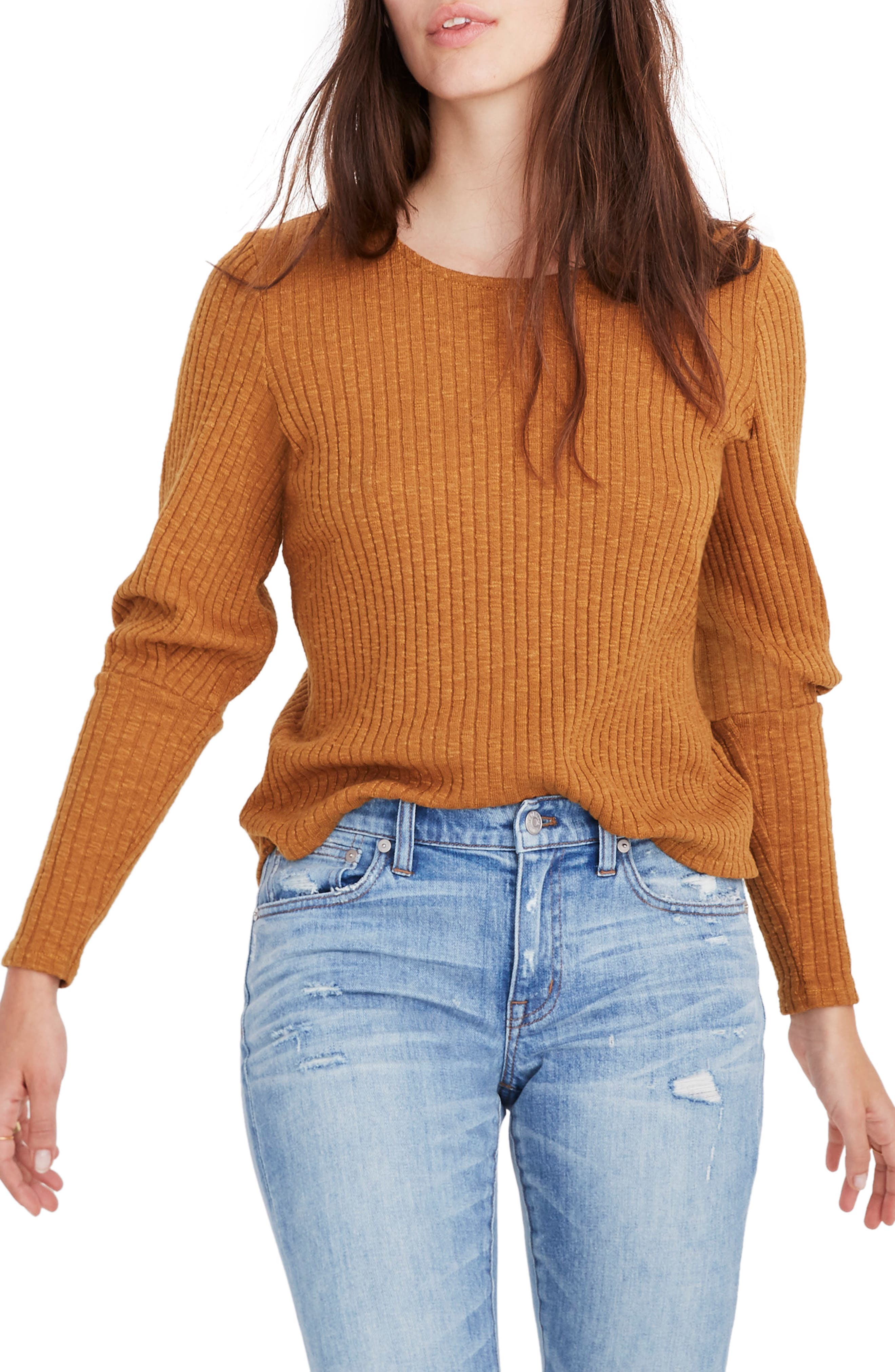 MADEWELL Ribbed Bubble Sleeve Top, Main, color, 200