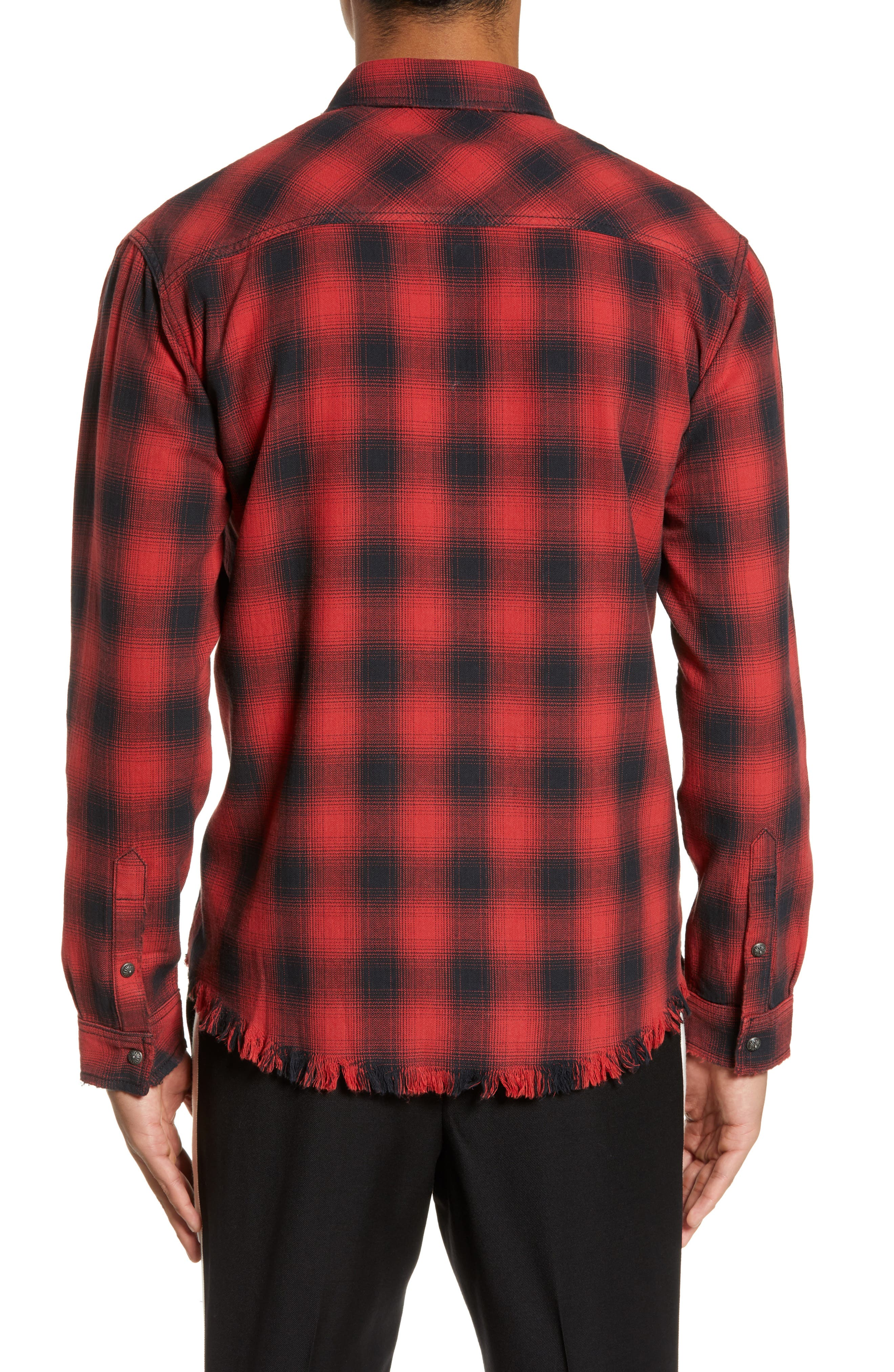 THE KOOPLES, Regular Fit Ombré Plaid Shirt, Alternate thumbnail 3, color, RED / BLACK