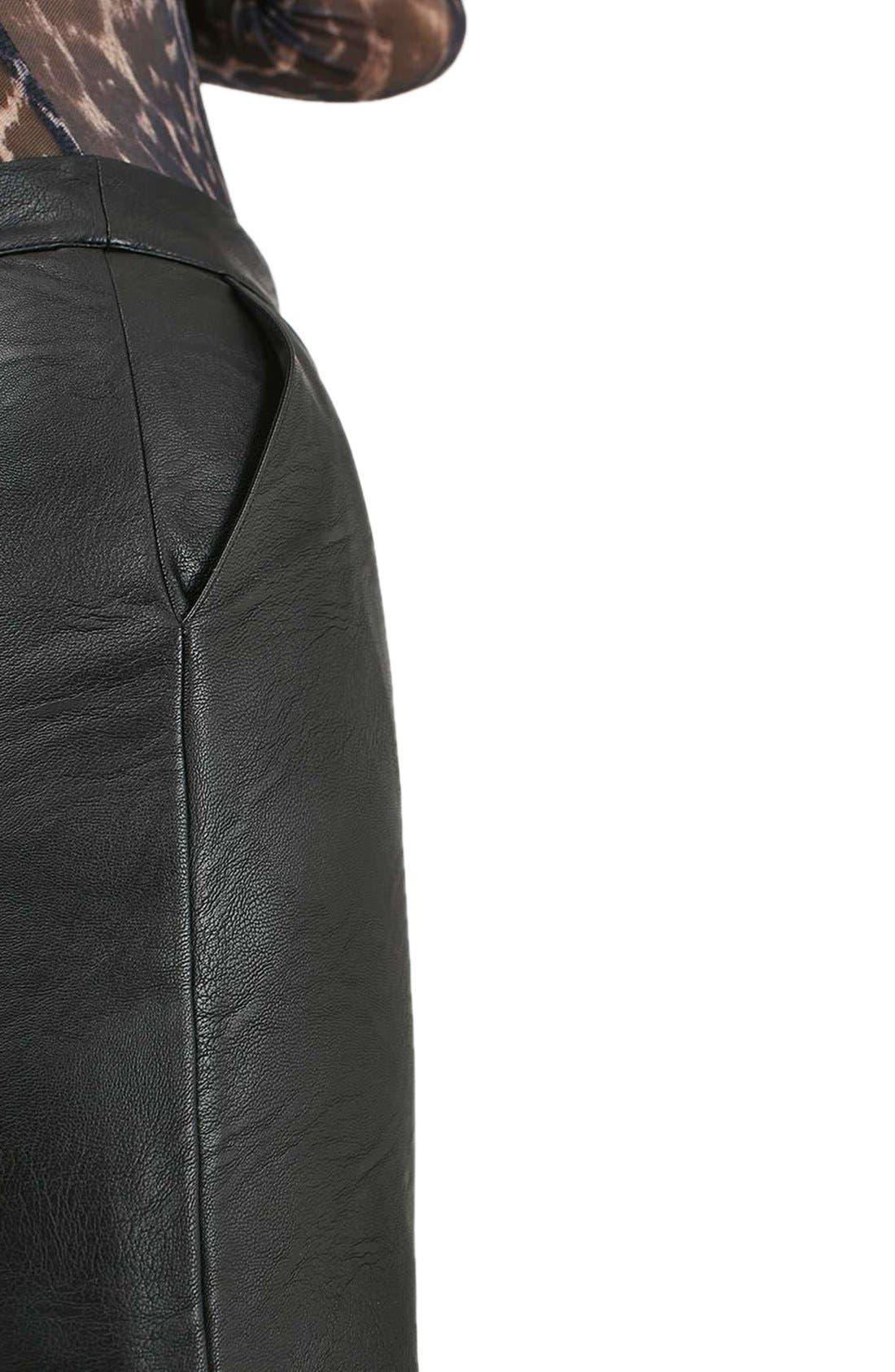 TOPSHOP, Faux Leather Pencil Skirt, Alternate thumbnail 6, color, 001