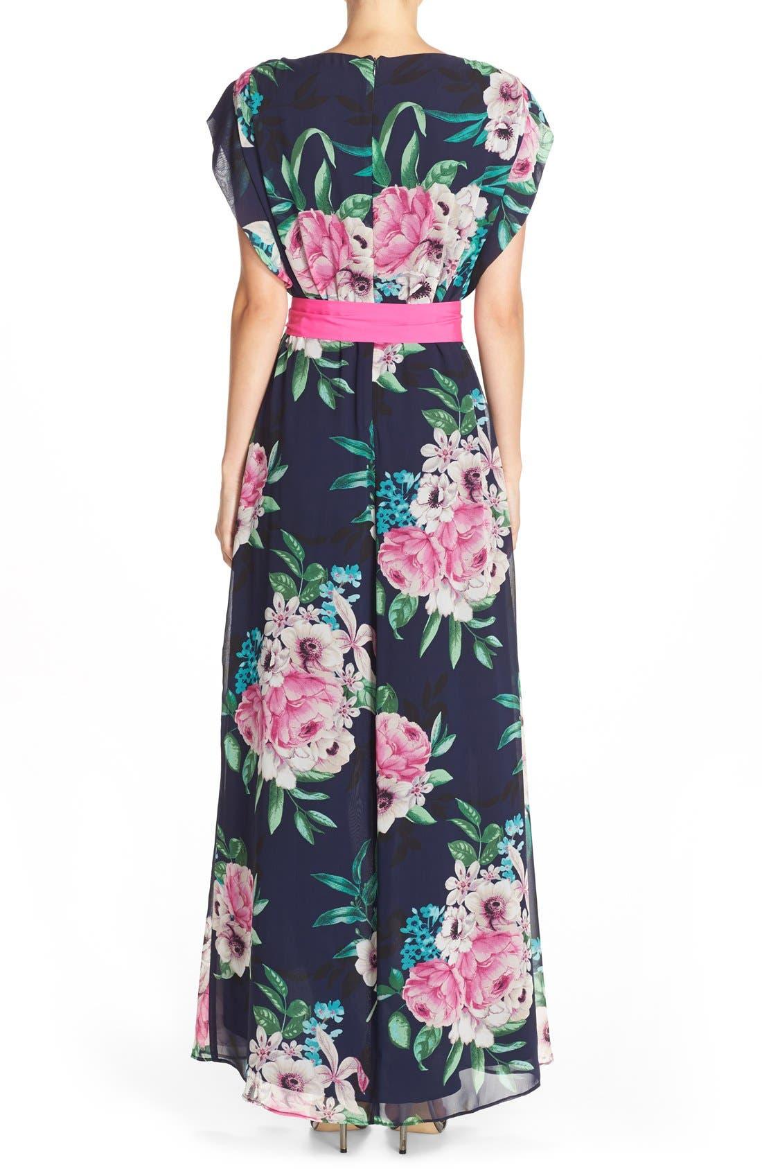 ELIZA J, Floral Print Chiffon High/Low Dress, Alternate thumbnail 3, color, 470