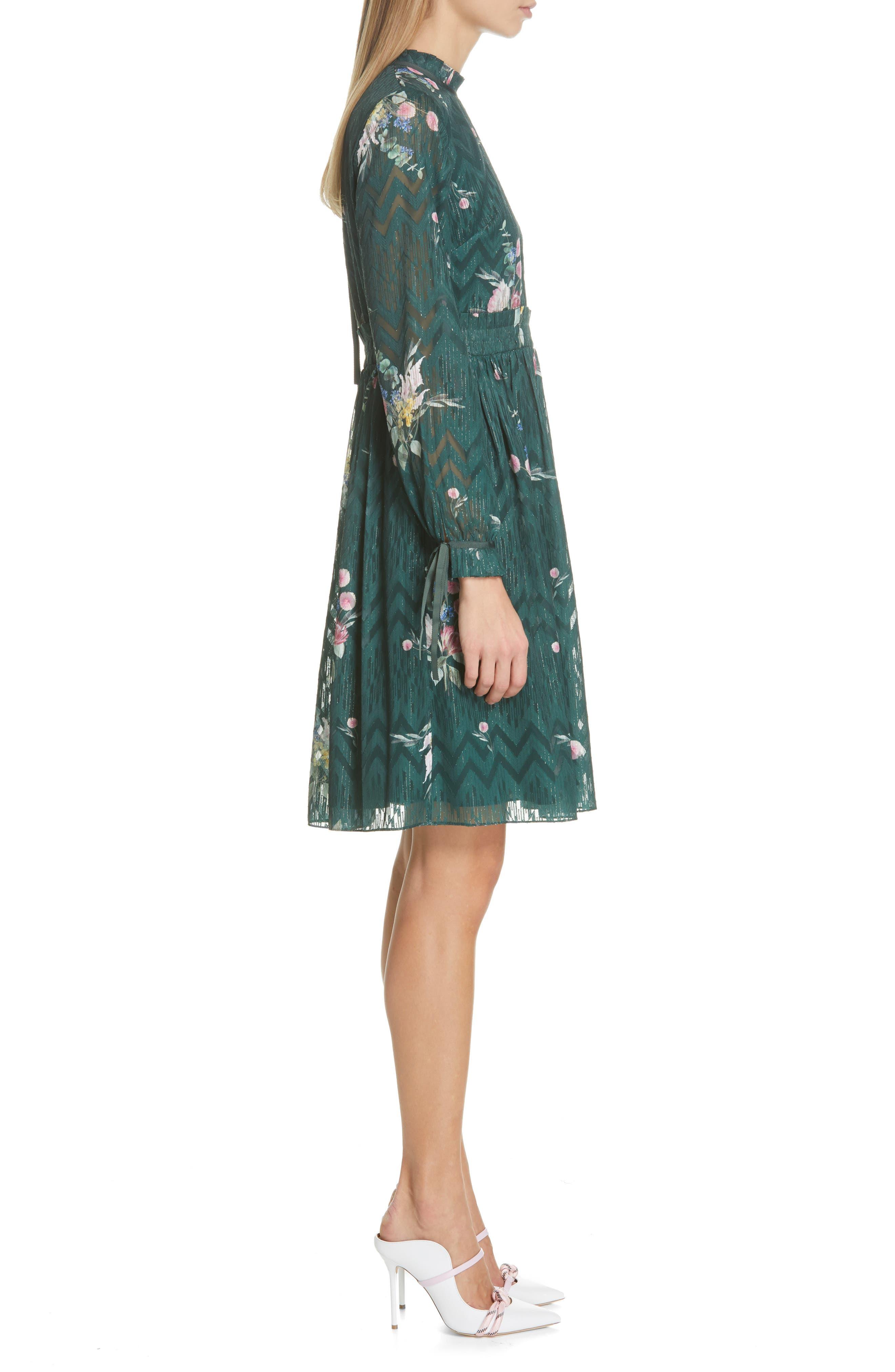 TED BAKER LONDON, Sofiya Floral Ribbon Tie Dress, Alternate thumbnail 4, color, DARK GREEN