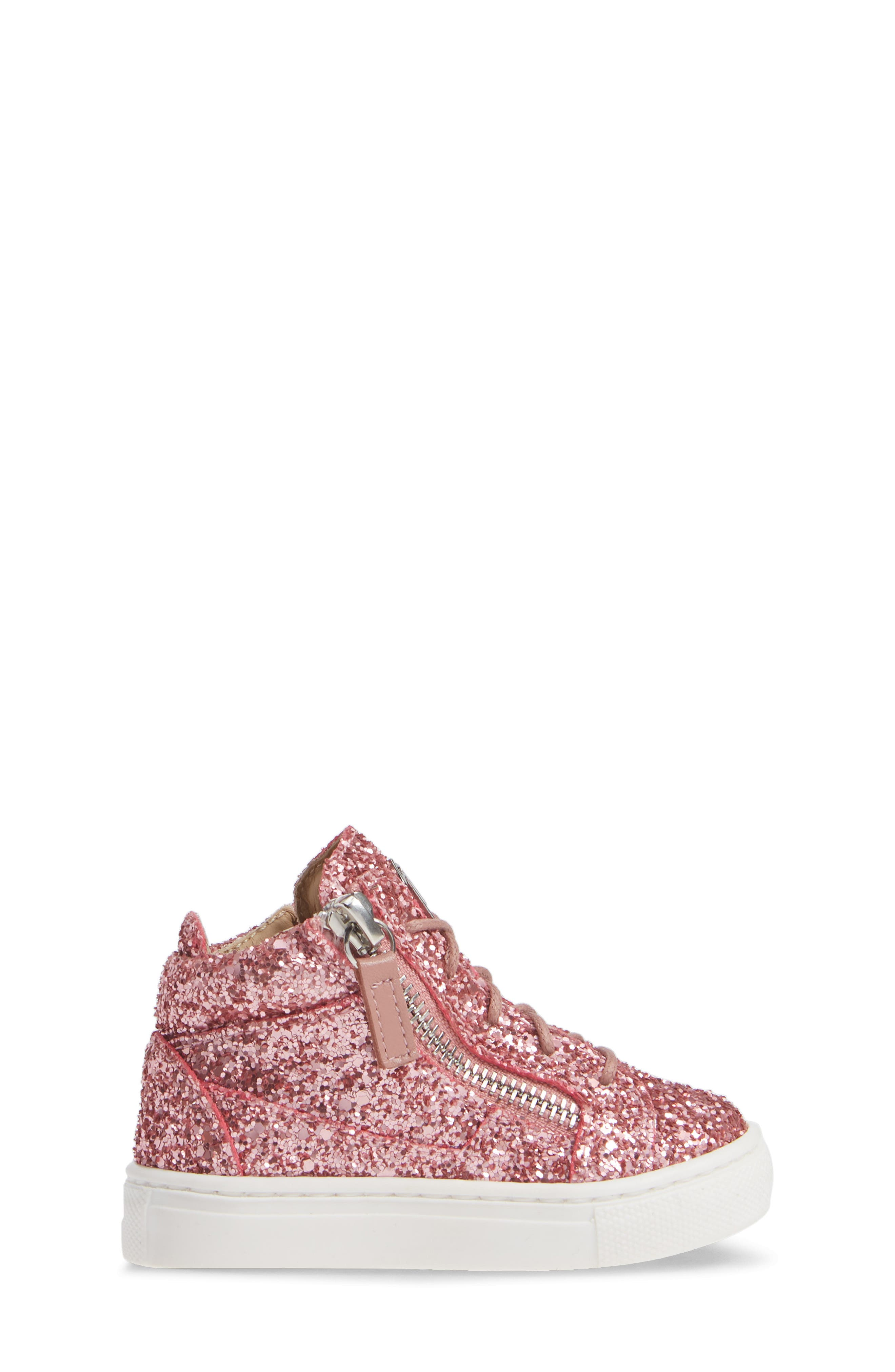 GIUSEPPE ZANOTTI, Natalie High Top Sneaker, Alternate thumbnail 3, color, LIPGLOSS