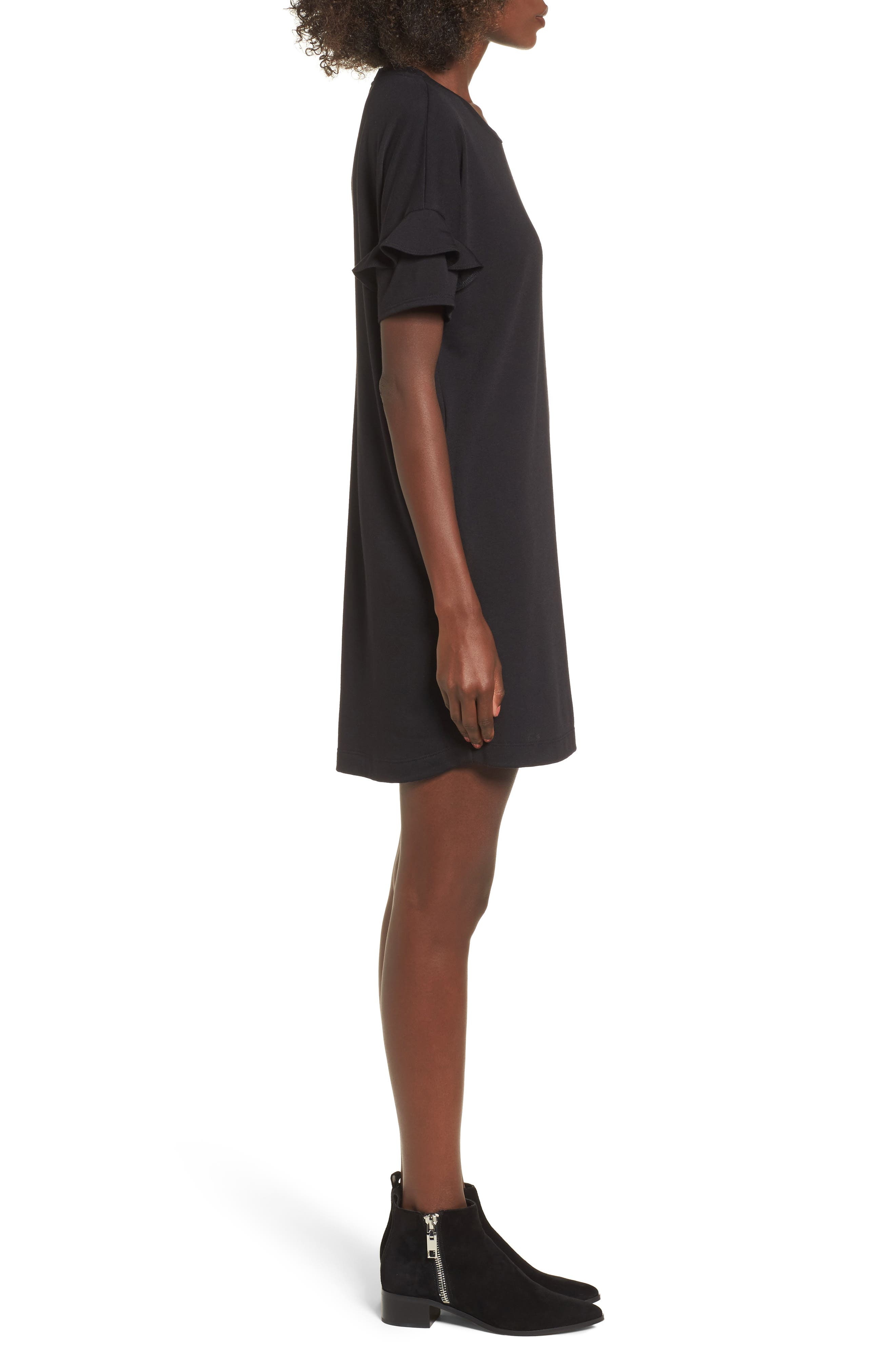 ---, Ruffle Sleeve T-Shirt Dress, Alternate thumbnail 3, color, 001