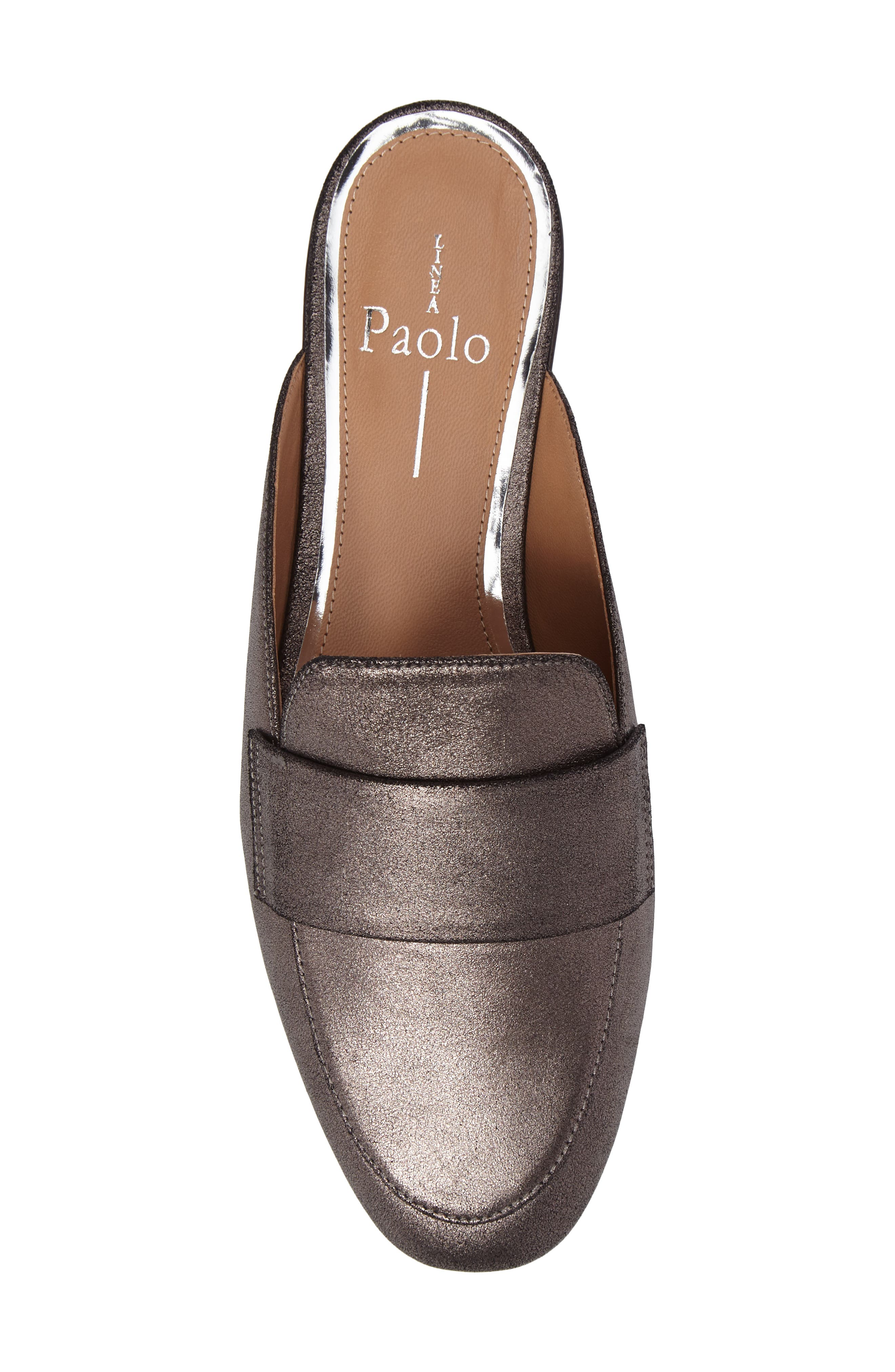 LINEA PAOLO, Annie Loafer Mule, Alternate thumbnail 5, color, PEWTER SUEDE
