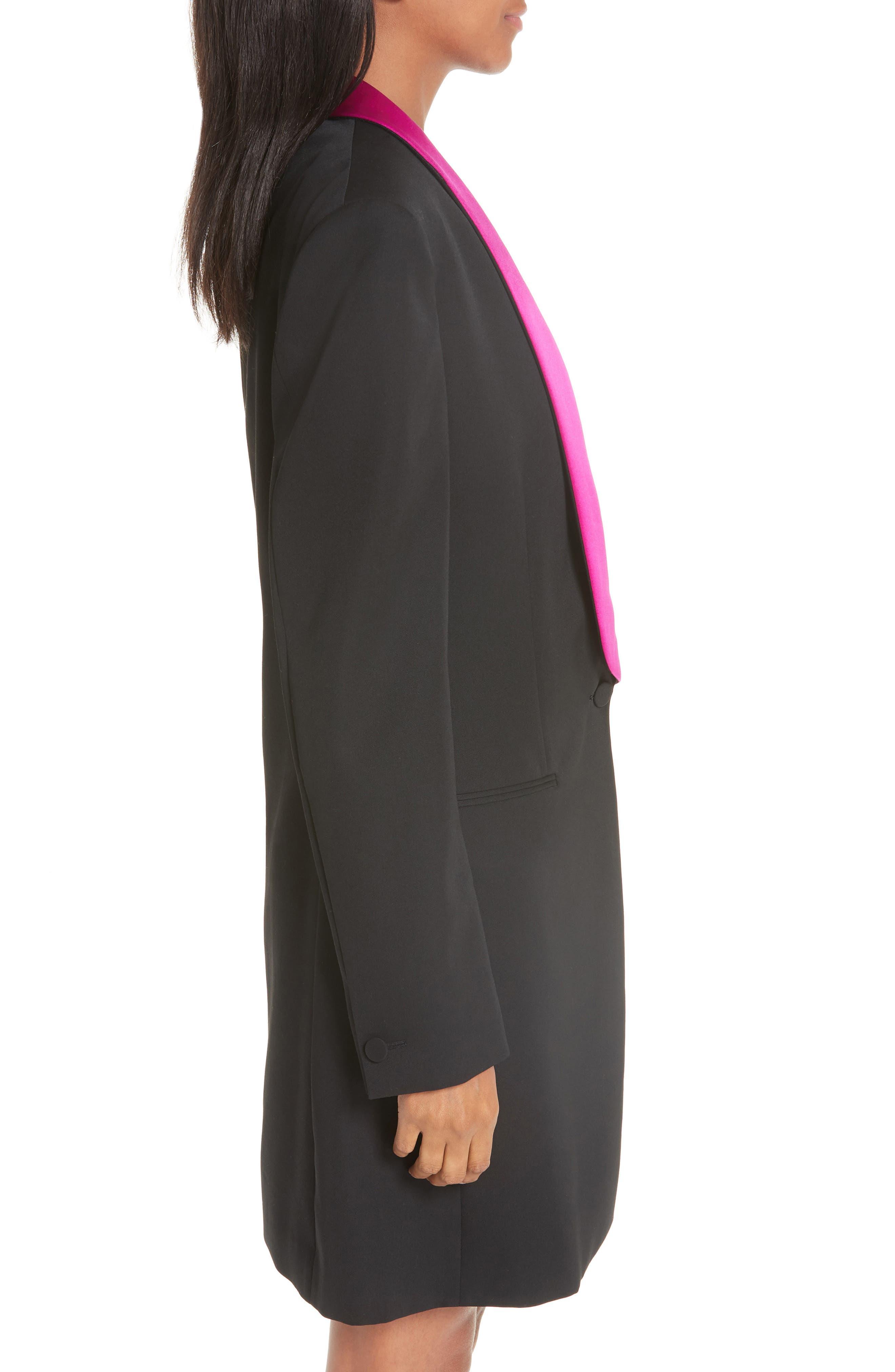CALVIN KLEIN 205W39NYC, Contrast Lapel Wool Gabardine Jacket, Alternate thumbnail 4, color, BLACK DARK ORCHID